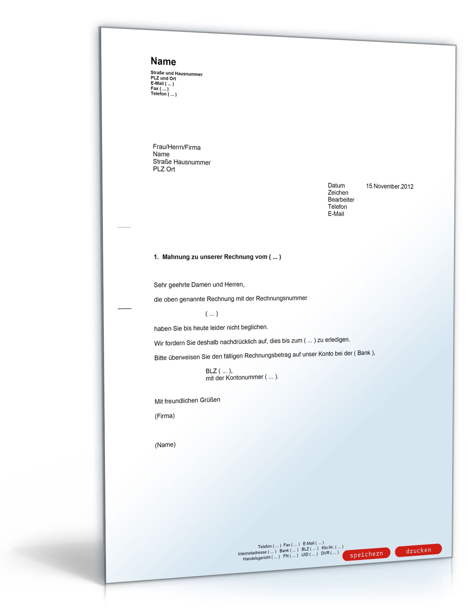 1 Mahnung Zahlungserinnerung Muster Vorlage Zum Download