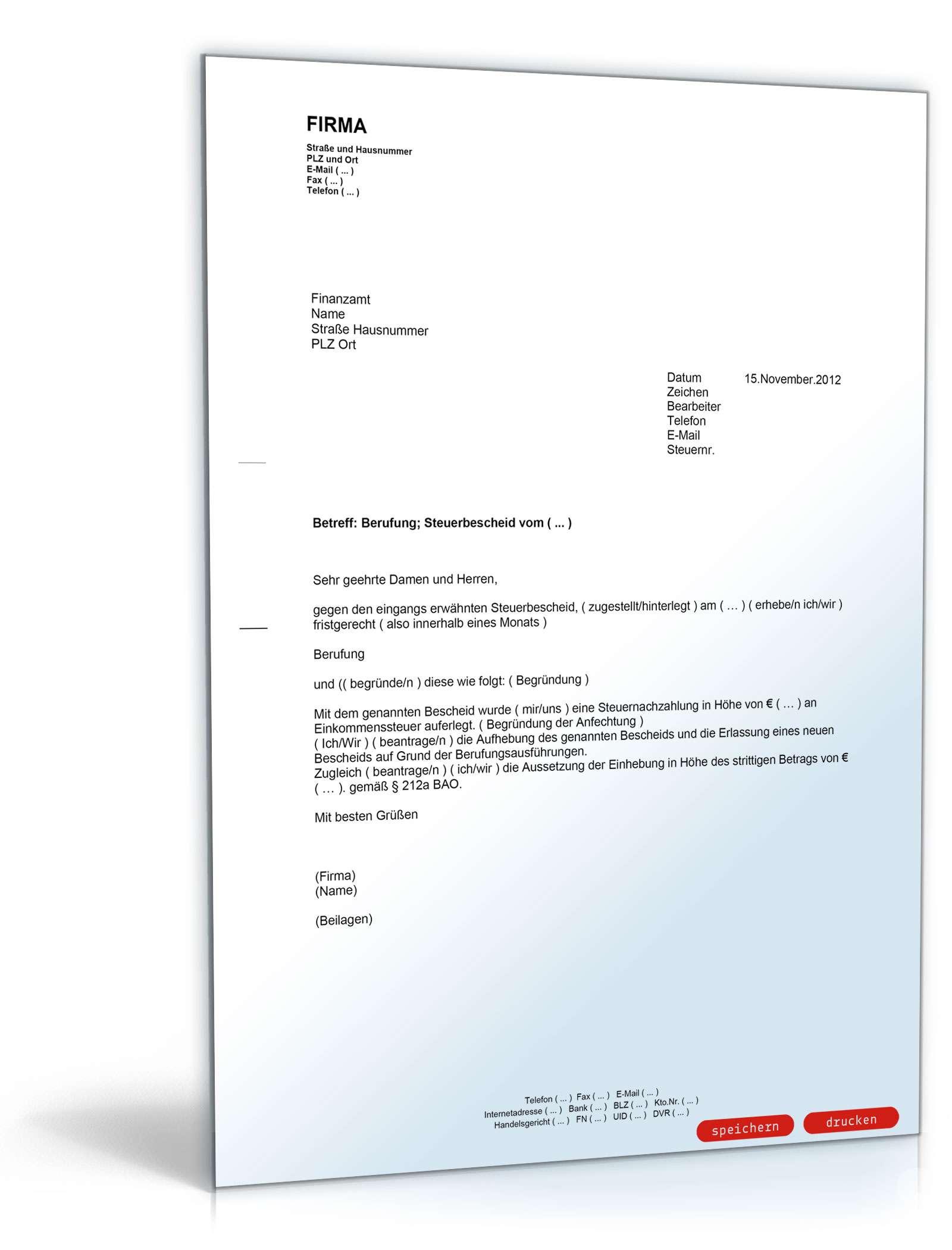Musterbriefe Lärmbelästigung : Berufung gegen den steuerbescheid mit antrag auf