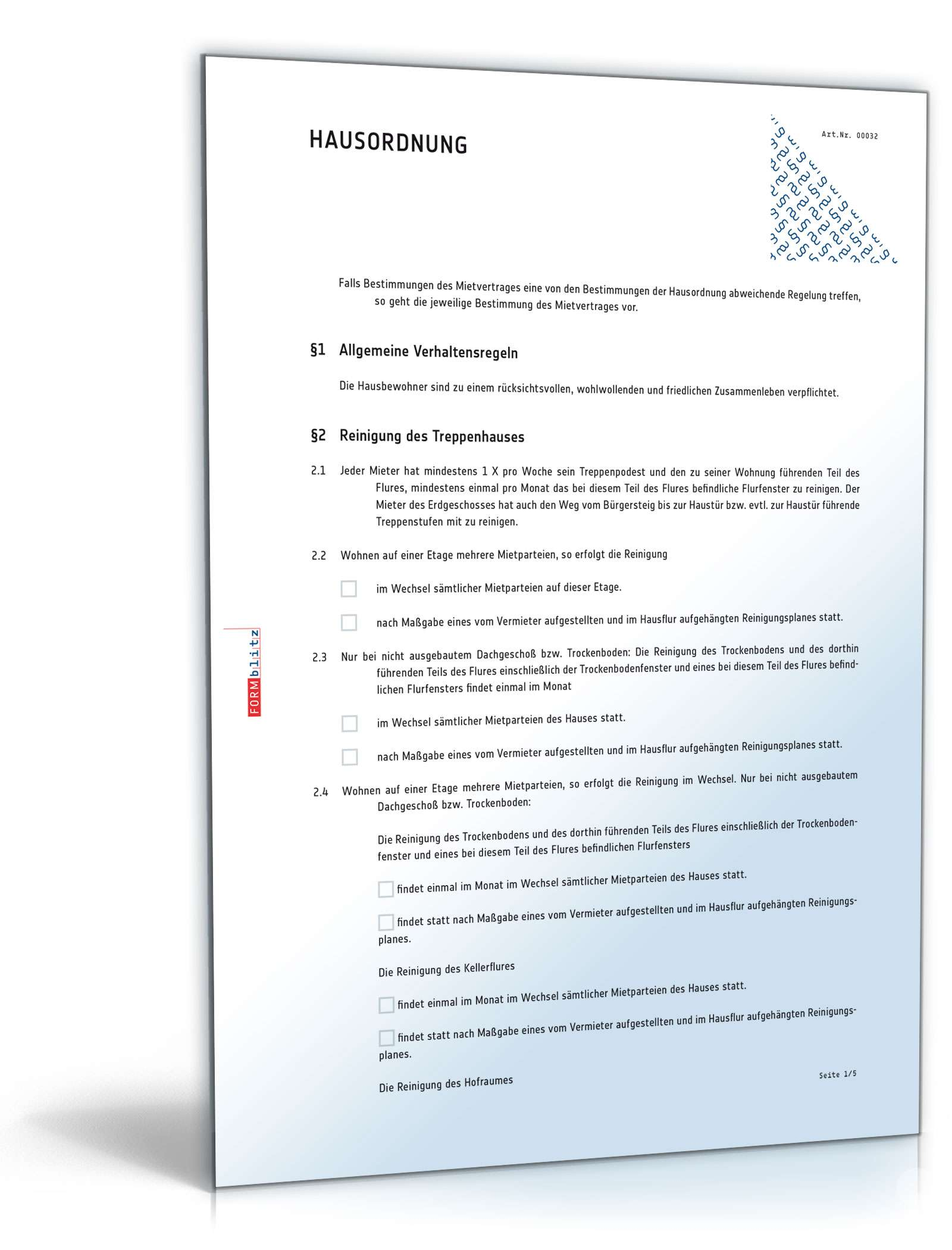 hausordnung muster vorlage zum download - Hausubergabeprotokoll Muster
