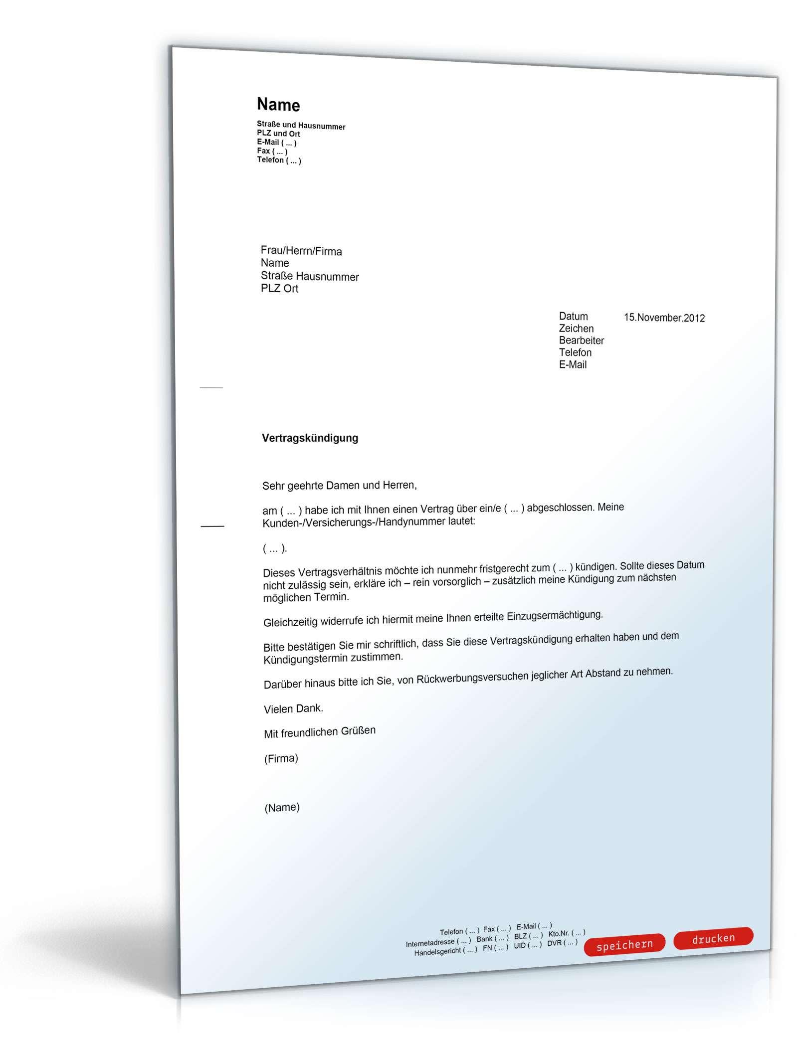 Ordentliche Kündigung Vertrag Muster Vorlage Zum Download