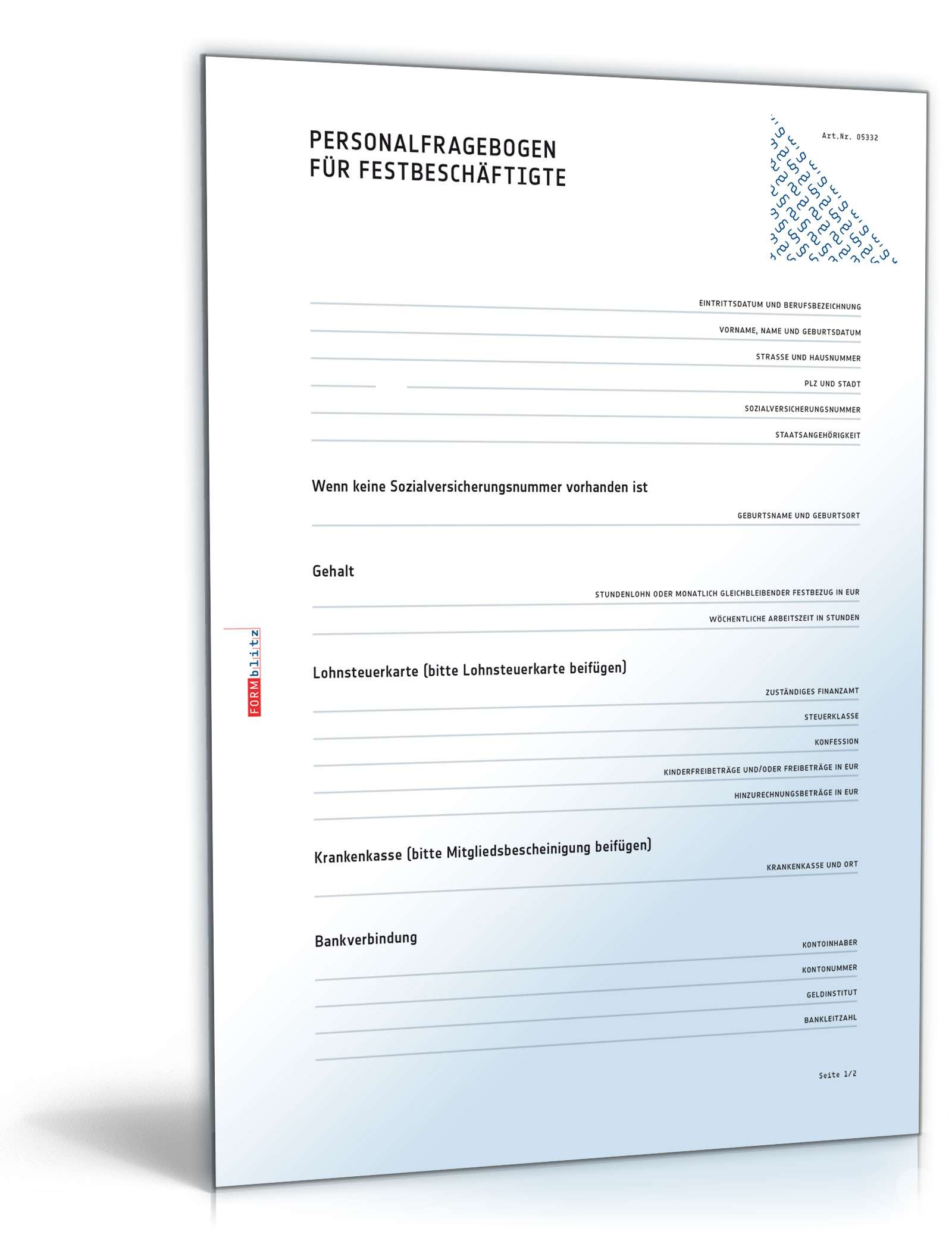 personalfragebogen fr festbeschftigte vorlage zum download - Personalfragebogen Muster