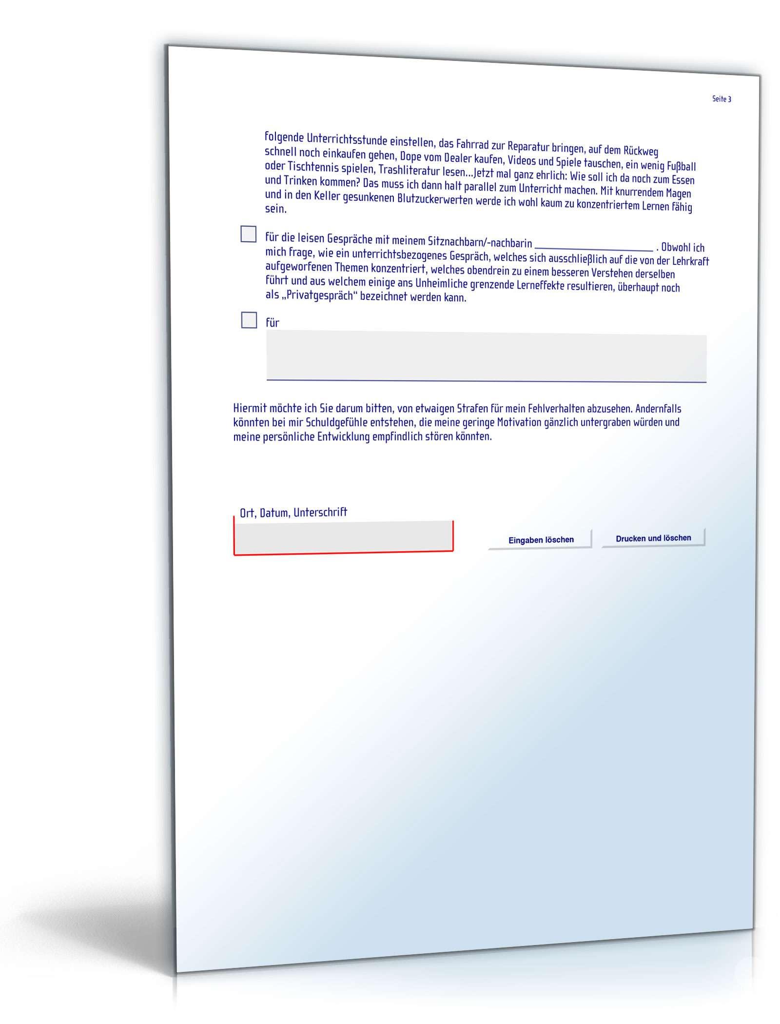pdf seite 3 - Entschuldigung Fur Die Schule Muster