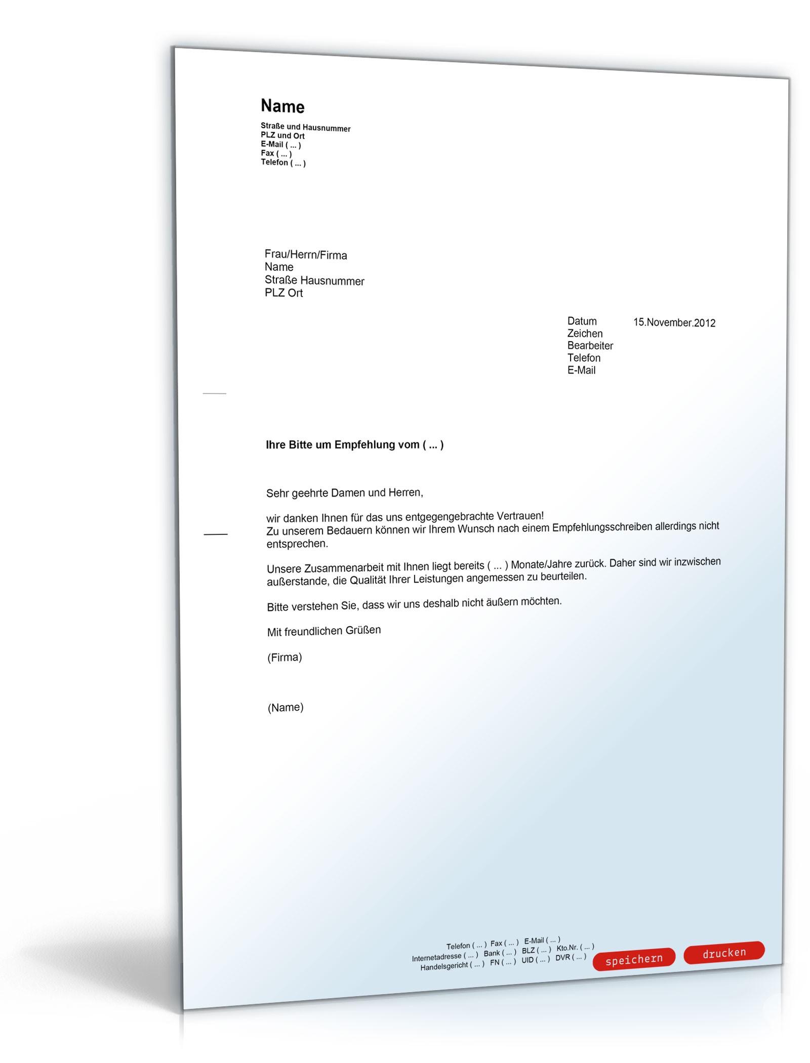 Ablehnung der Bitte um ein Empfehlungsschreiben - Muster-Vorlage zum ...