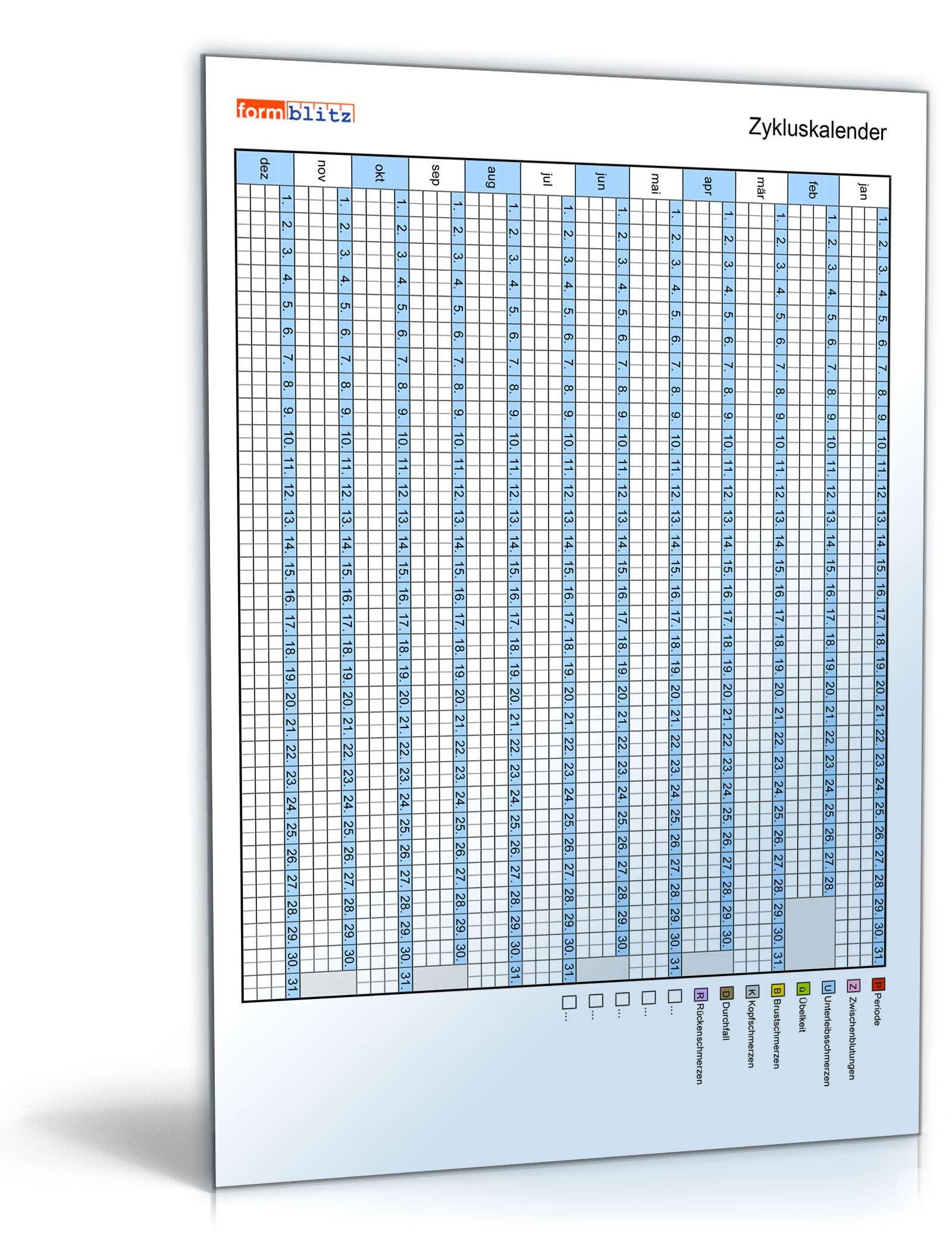 Zykluskalender Tabelle Zum Download