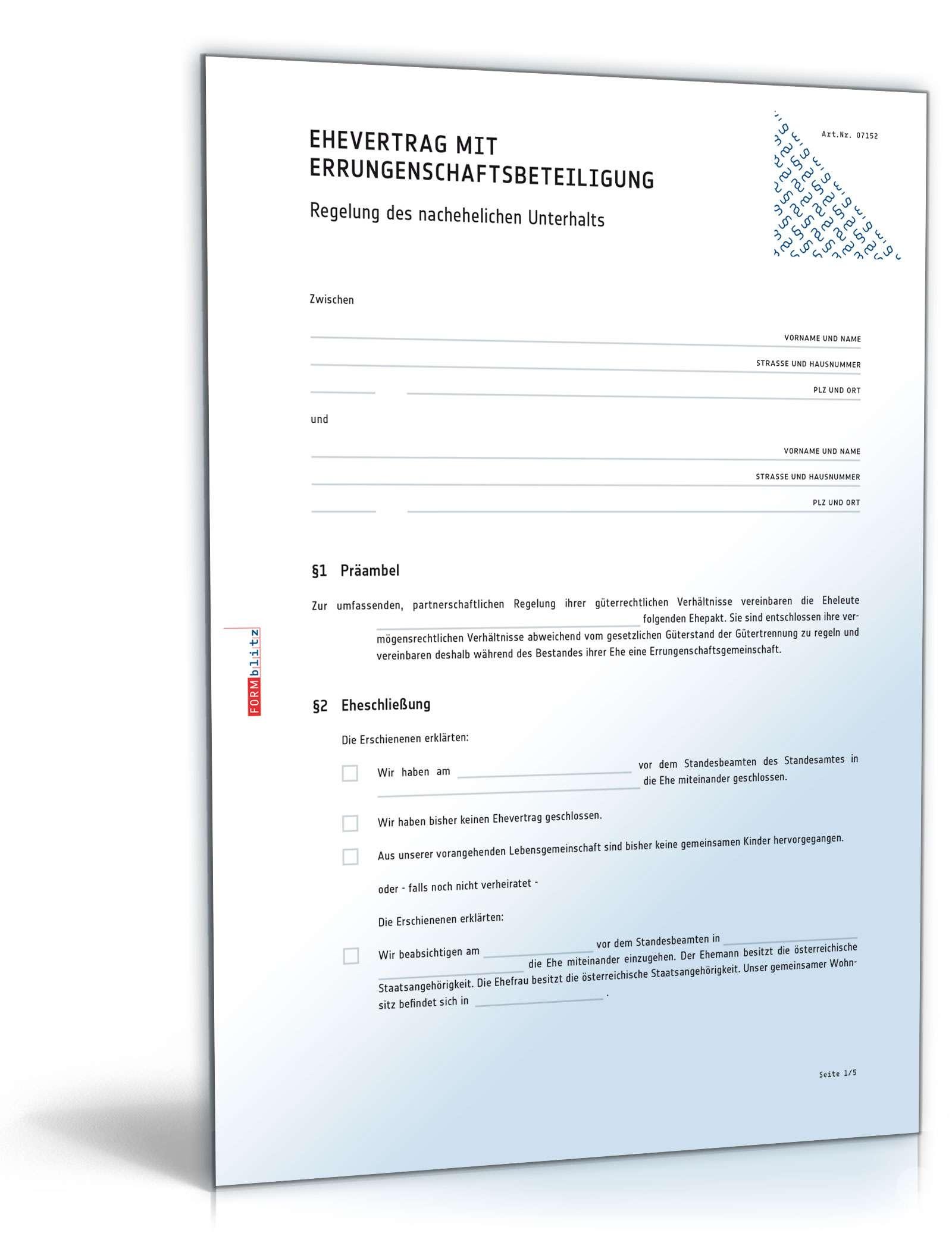 Ehevertrag mit Errungenschaftsbeteiligung - Muster-Vorlage zum Download