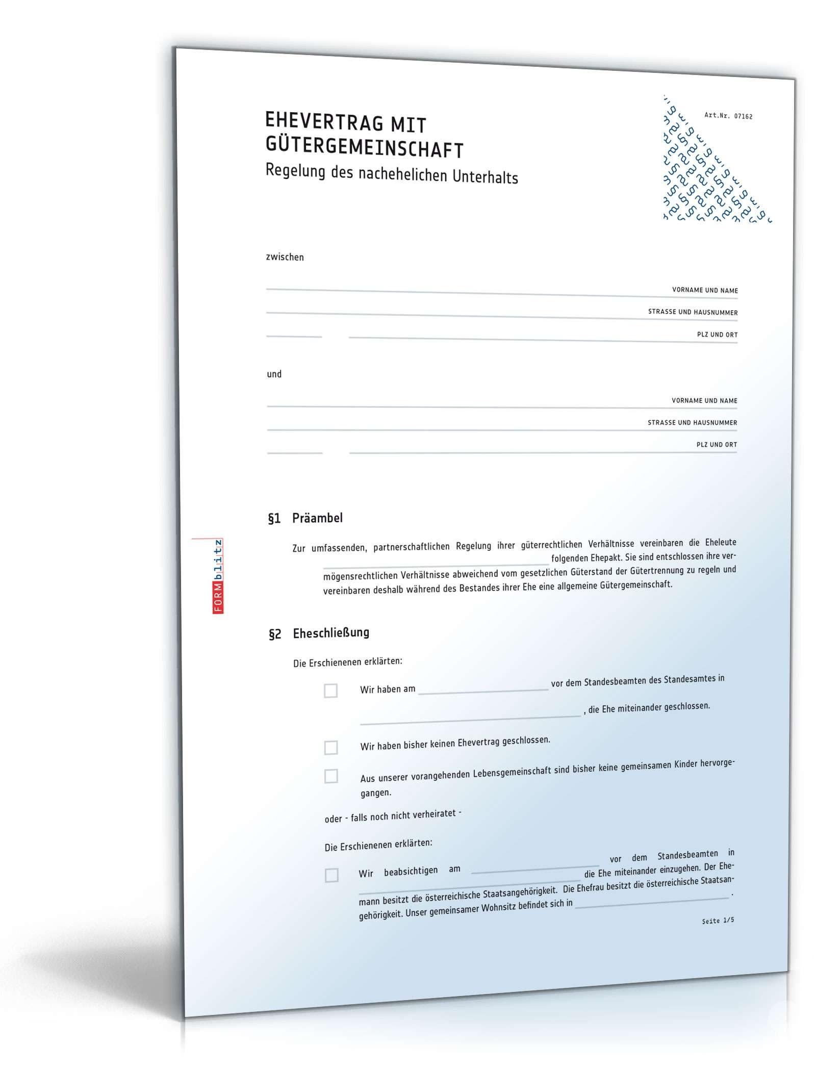 Ehevertrag Mit Gütergemeinschaft Muster Vorlage Zum Download