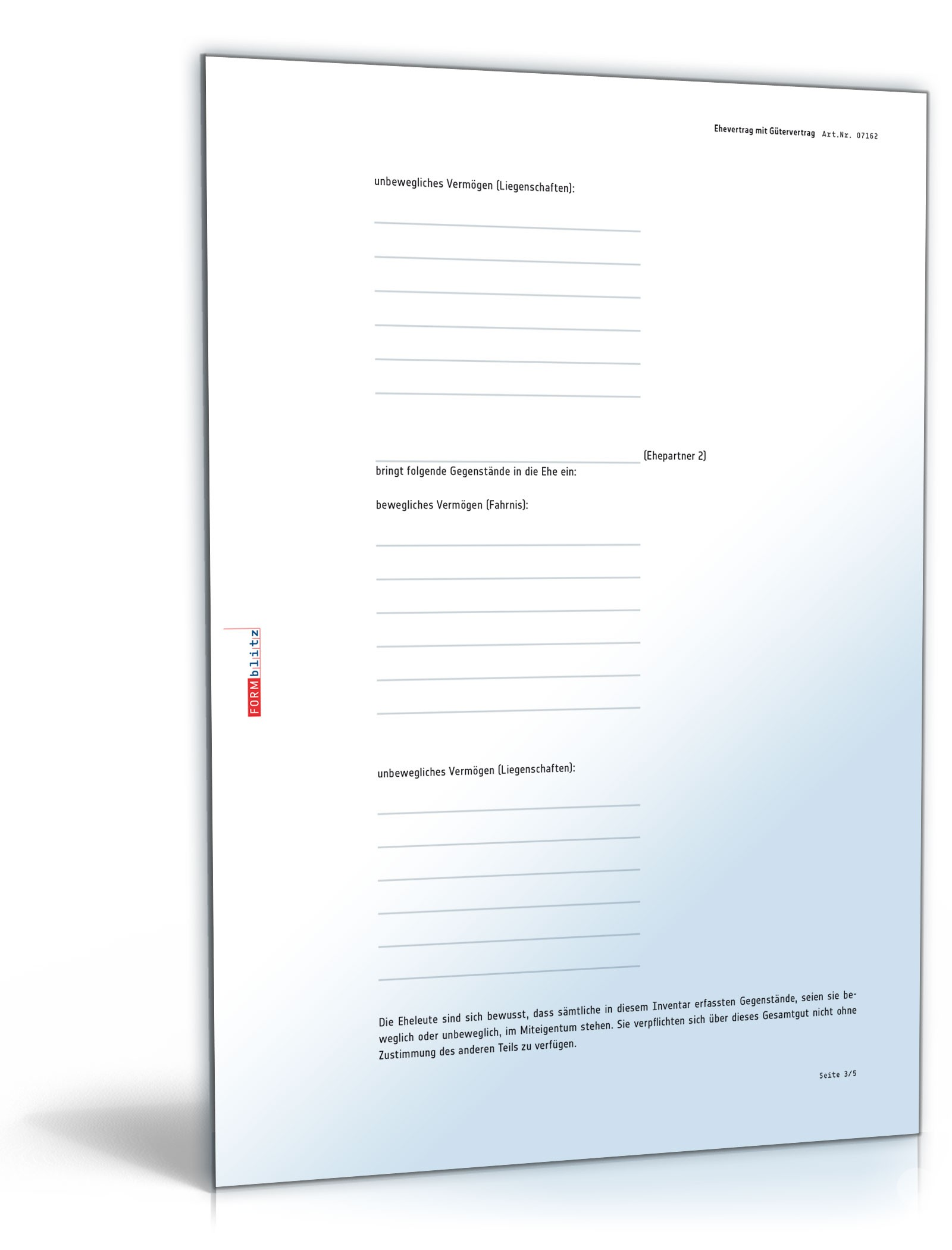 Ehevertrag mit Gütergemeinschaft - Muster-Vorlage zum Download