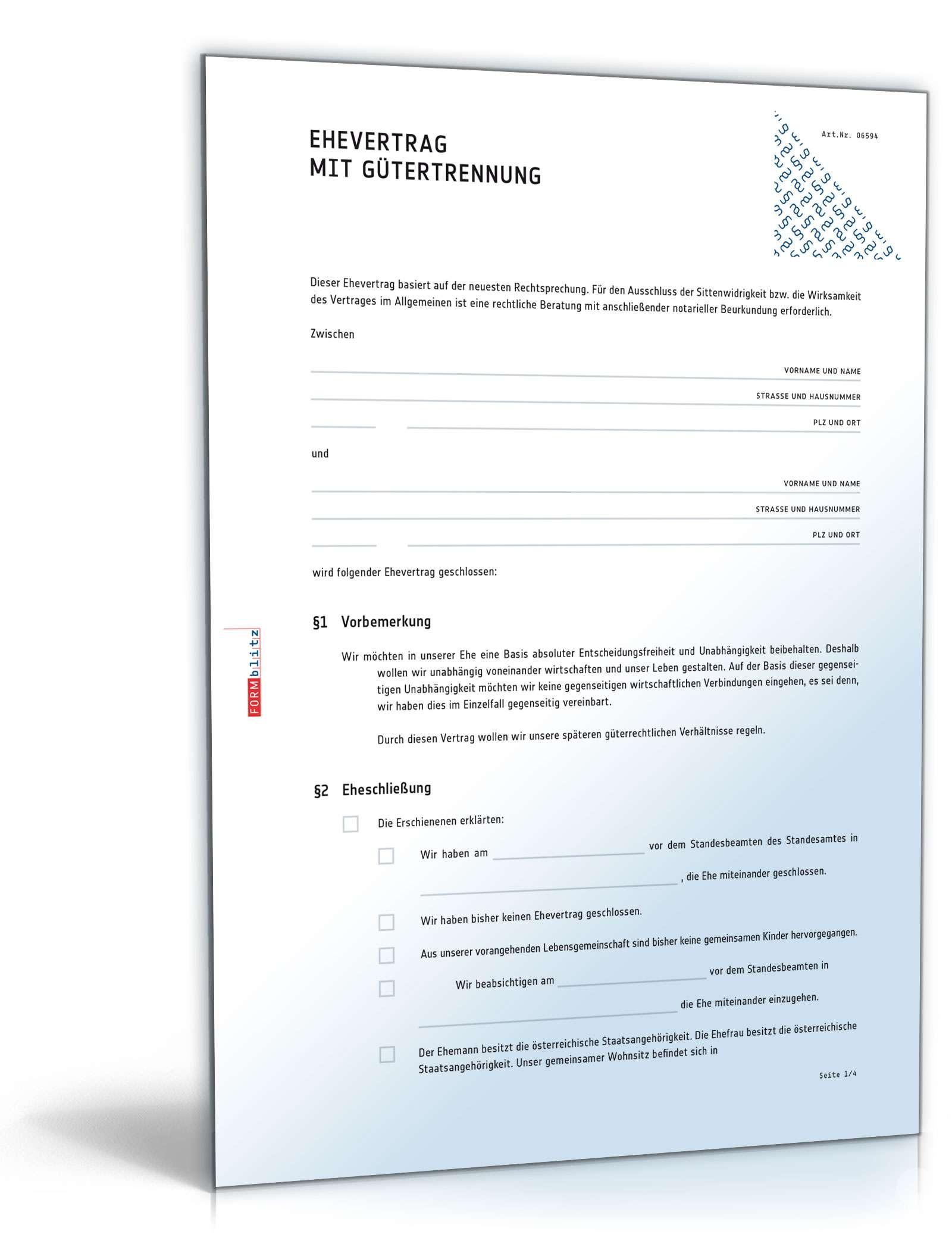 Ehevertrag Mit Gütertrennung Muster Vorlage Zum Download