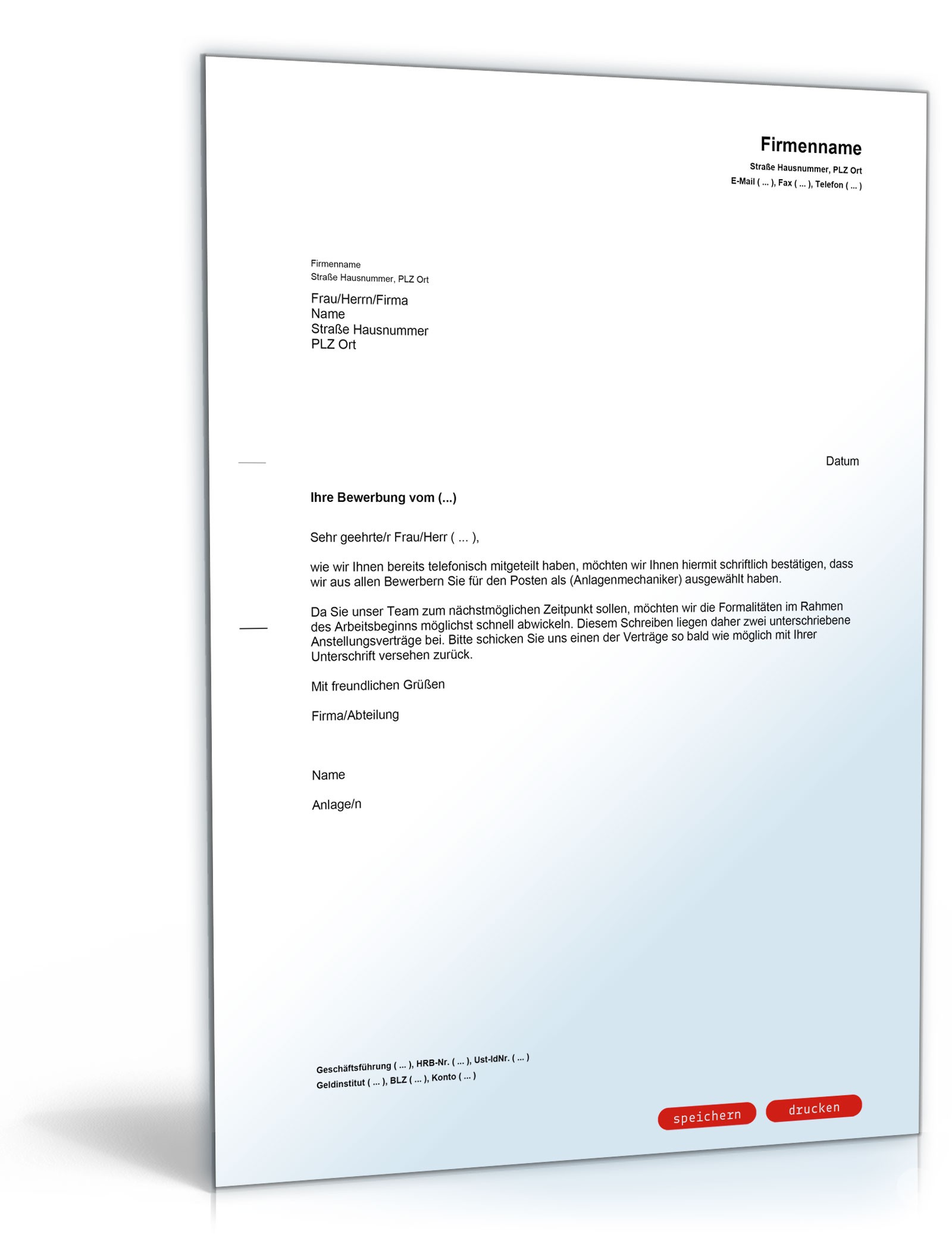 Einstellungszusage mit Arbeitsvertrag in der Anlage - Muster-Vorlage ...