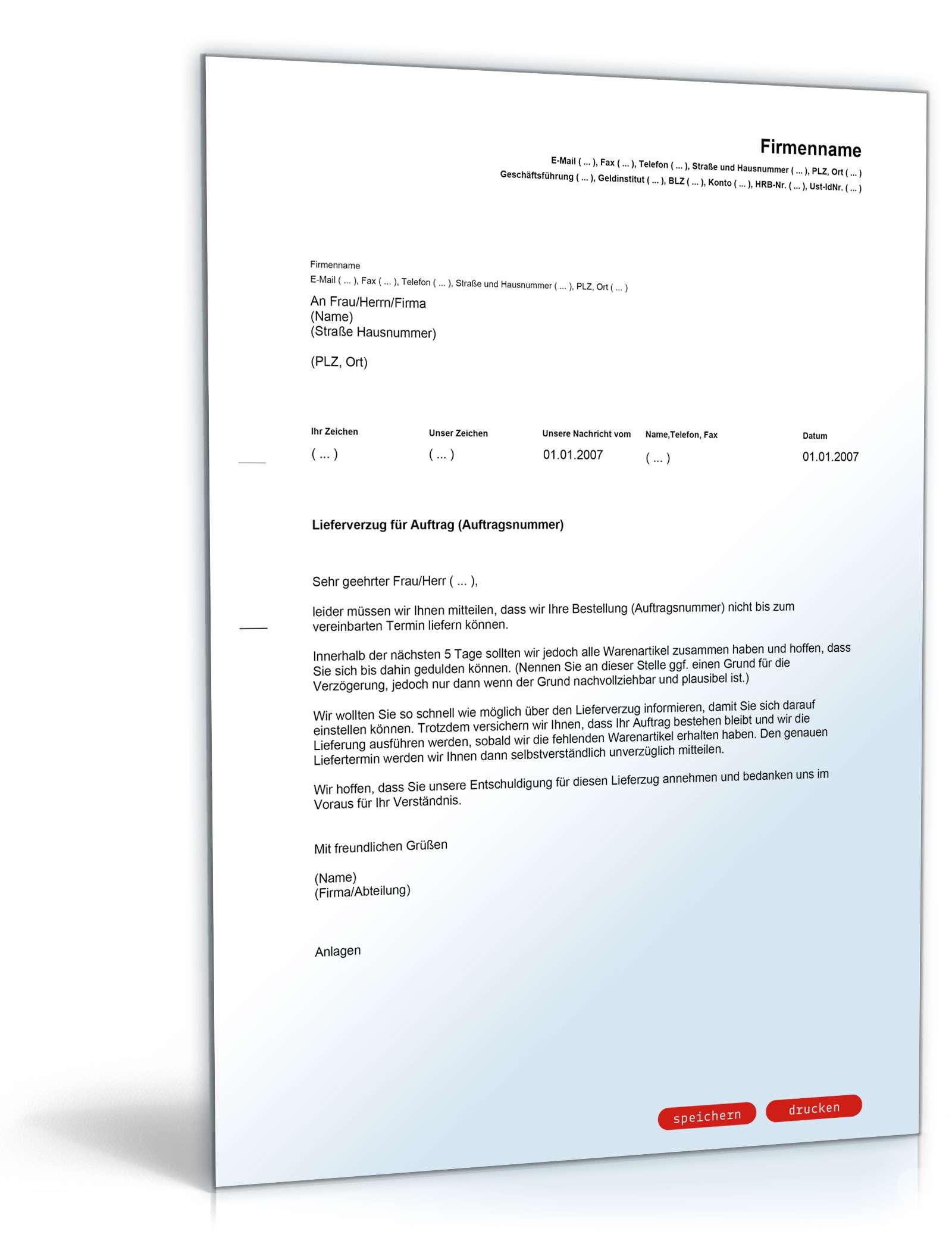 Musterbriefe Entschuldigungsschreiben Geschäftlich : Entschuldigung bei lieferverzug muster brief zum download