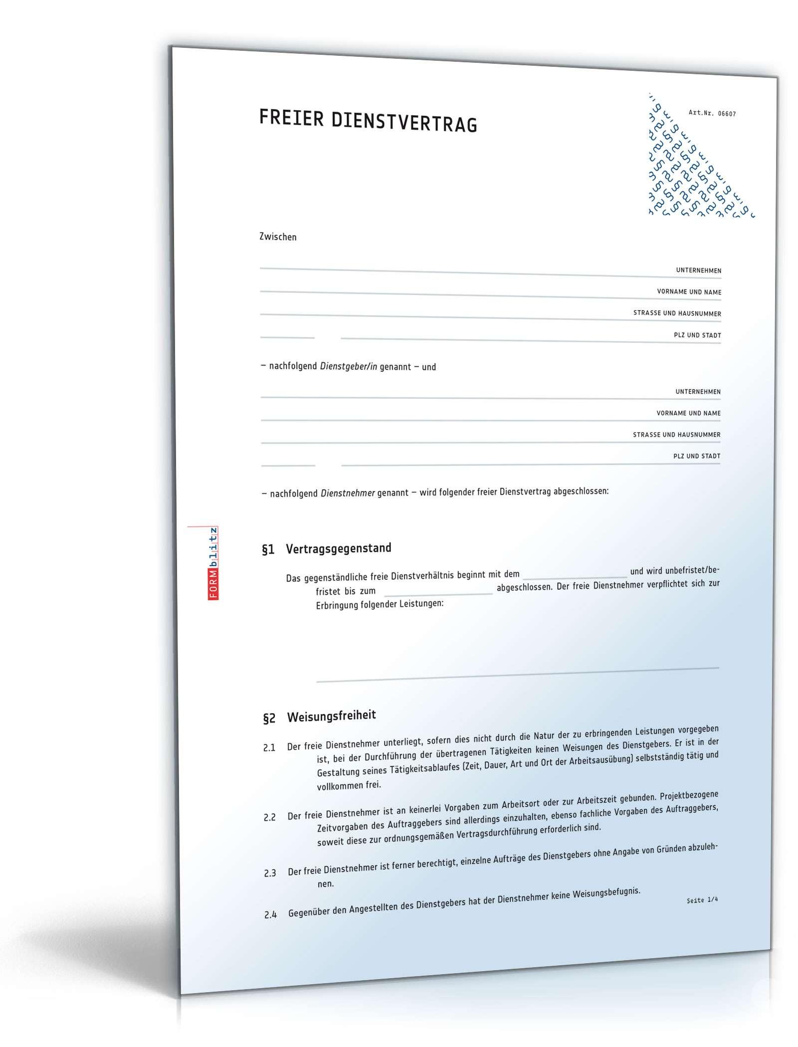 Freier Dienstvertrag Muster Zum Download