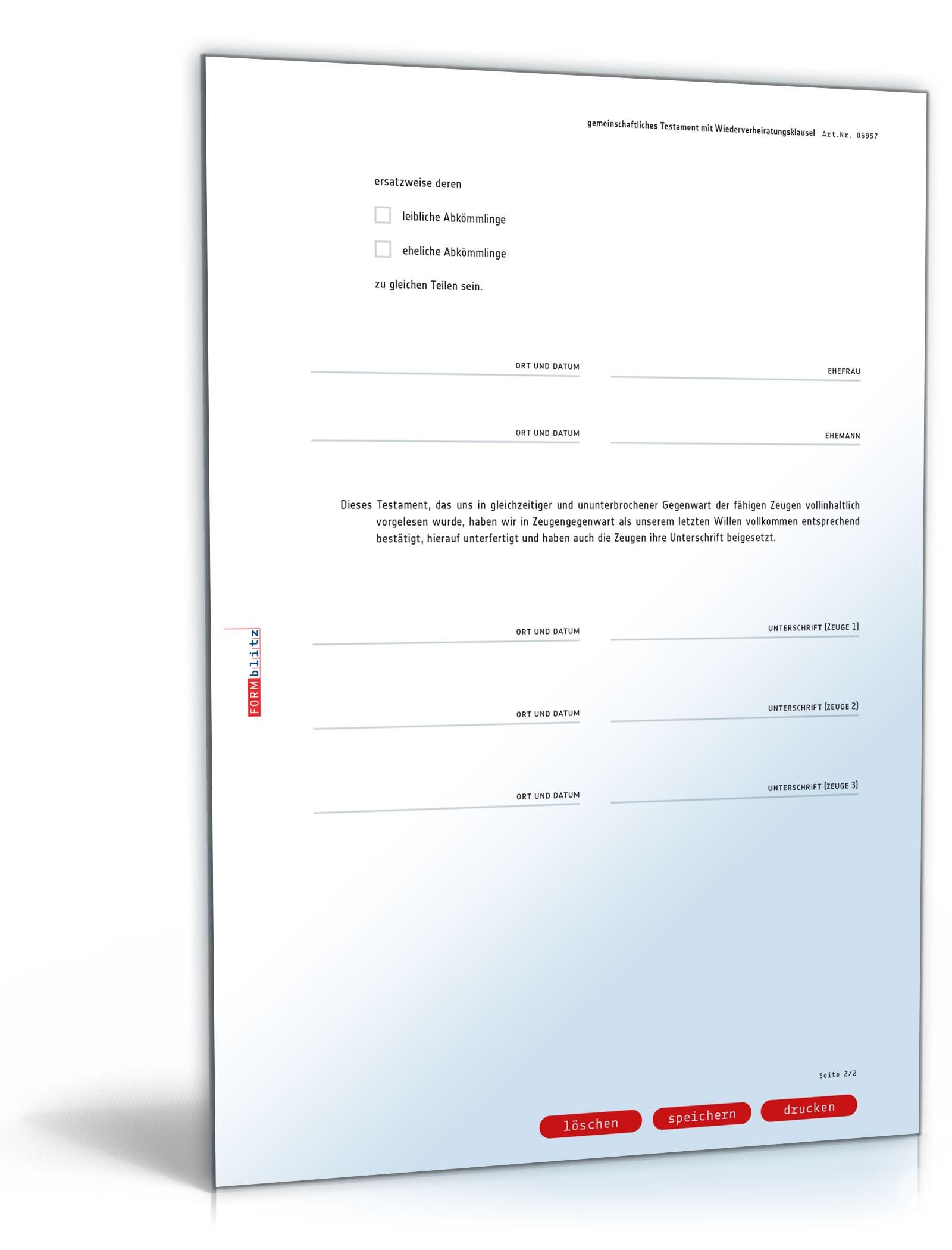 gemeinschaftliches testament mit wiederverheiratungsklausel muster vorlage zum download. Black Bedroom Furniture Sets. Home Design Ideas