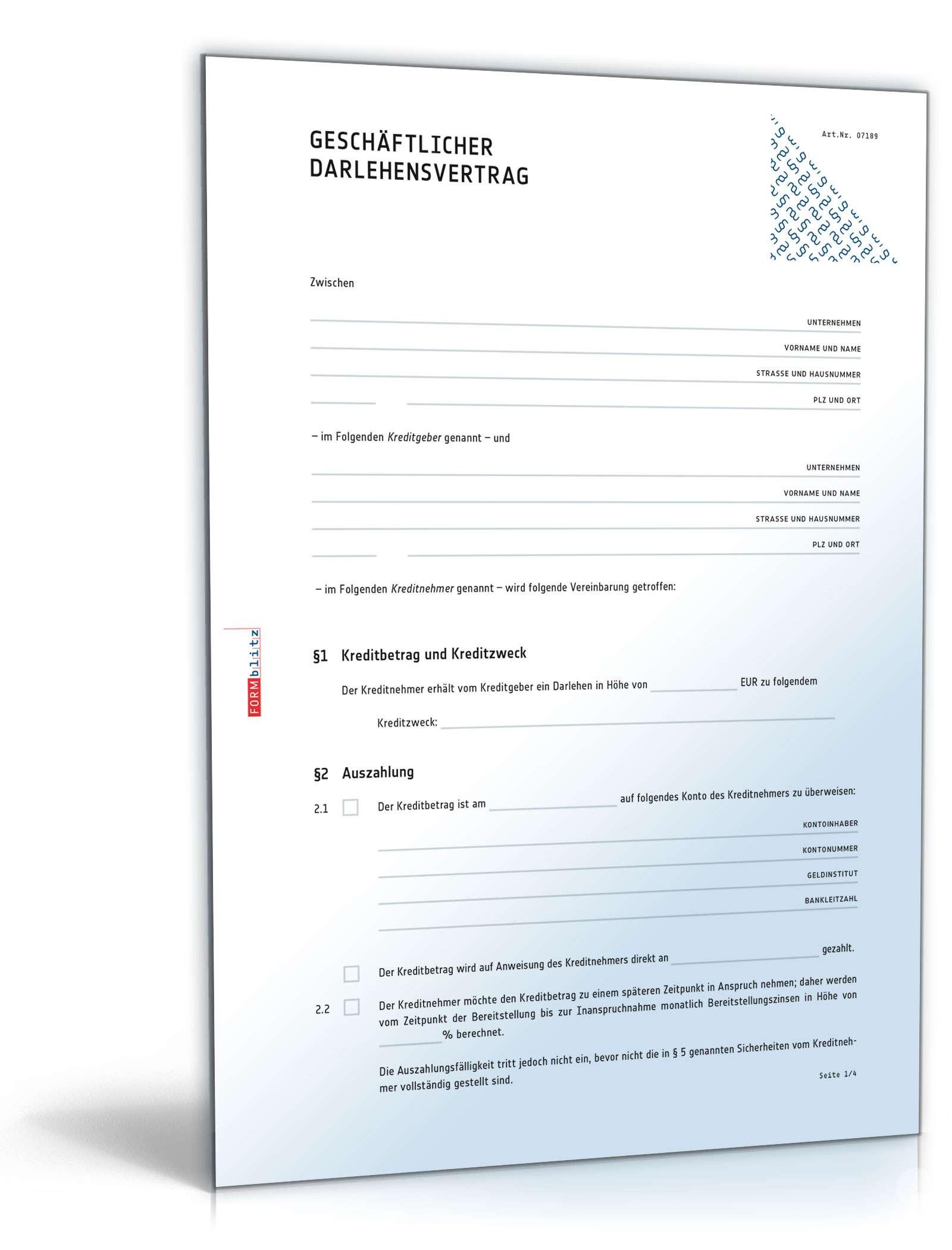 Geschäftlicher Darlehensvertrag Muster Vorlage Zum Download