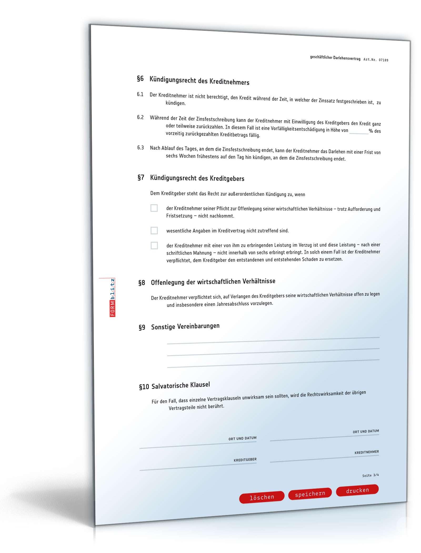 Geschäftlicher Darlehensvertrag - Muster-Vorlage zum Download
