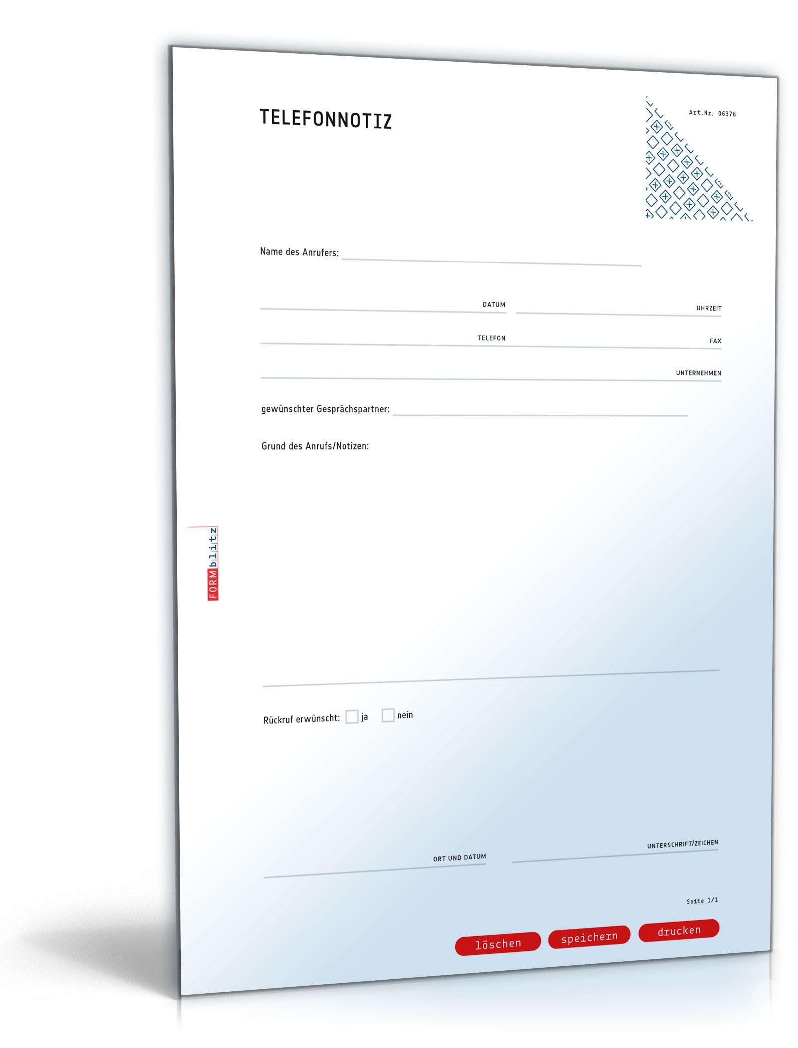 Gesprächsnotiz für ein Telefonat (Telefonnotiz) Dokument zum Download