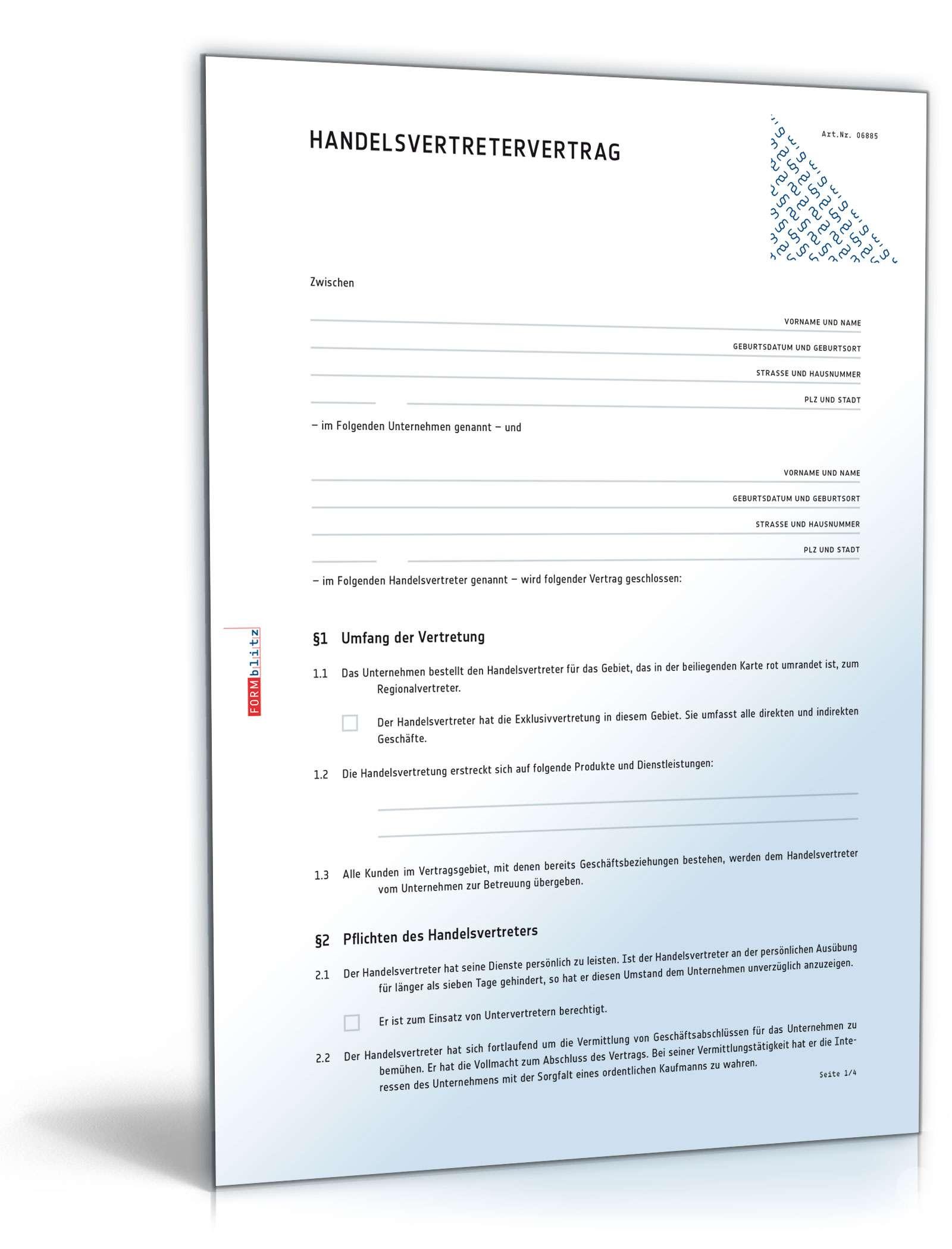 Handelsvertretervertrag Muster Zum Download