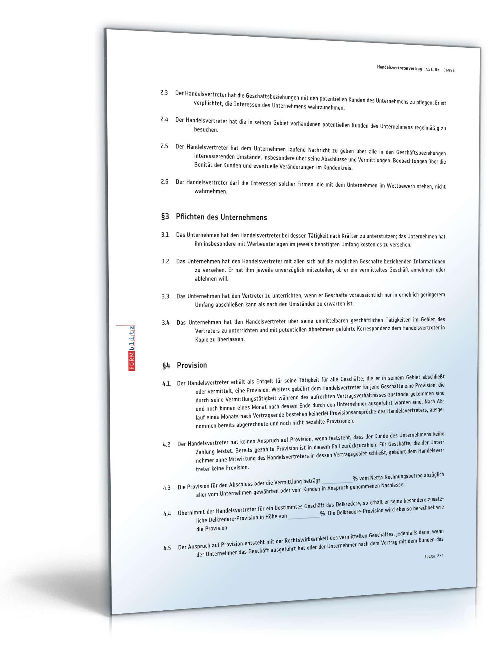 Handelsvertretervertrag | Muster zum Download