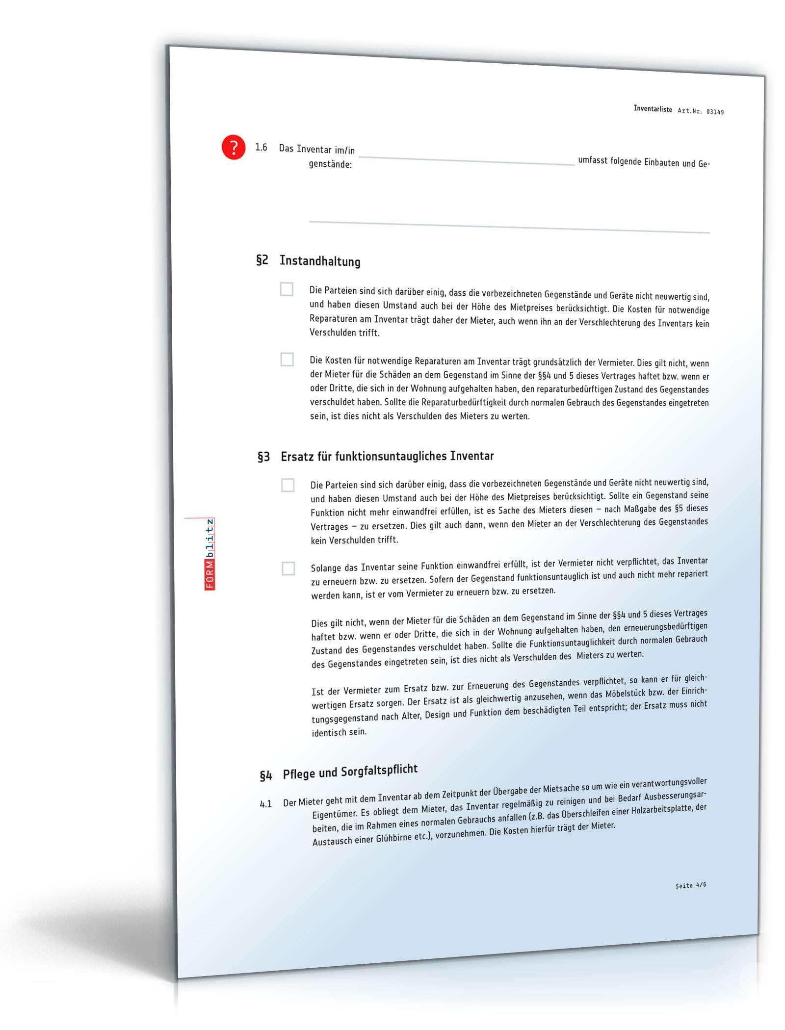 Mietvertrag-Anhang: Inventarliste - Checkliste zum Download