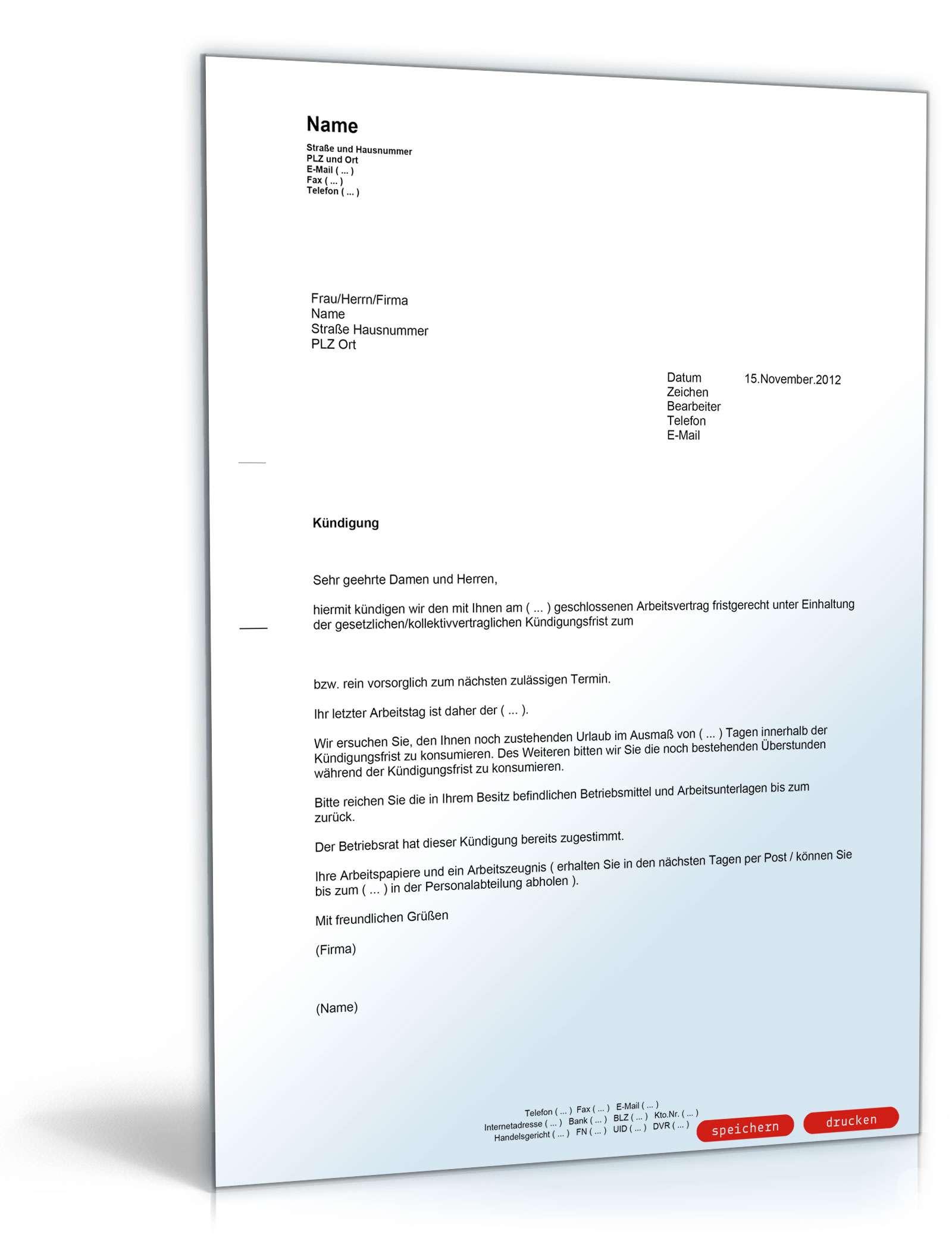 Kündigung Arbeitsvertrag (fristgemäß, Arbeitgeber) - Muster-Vorlage ...
