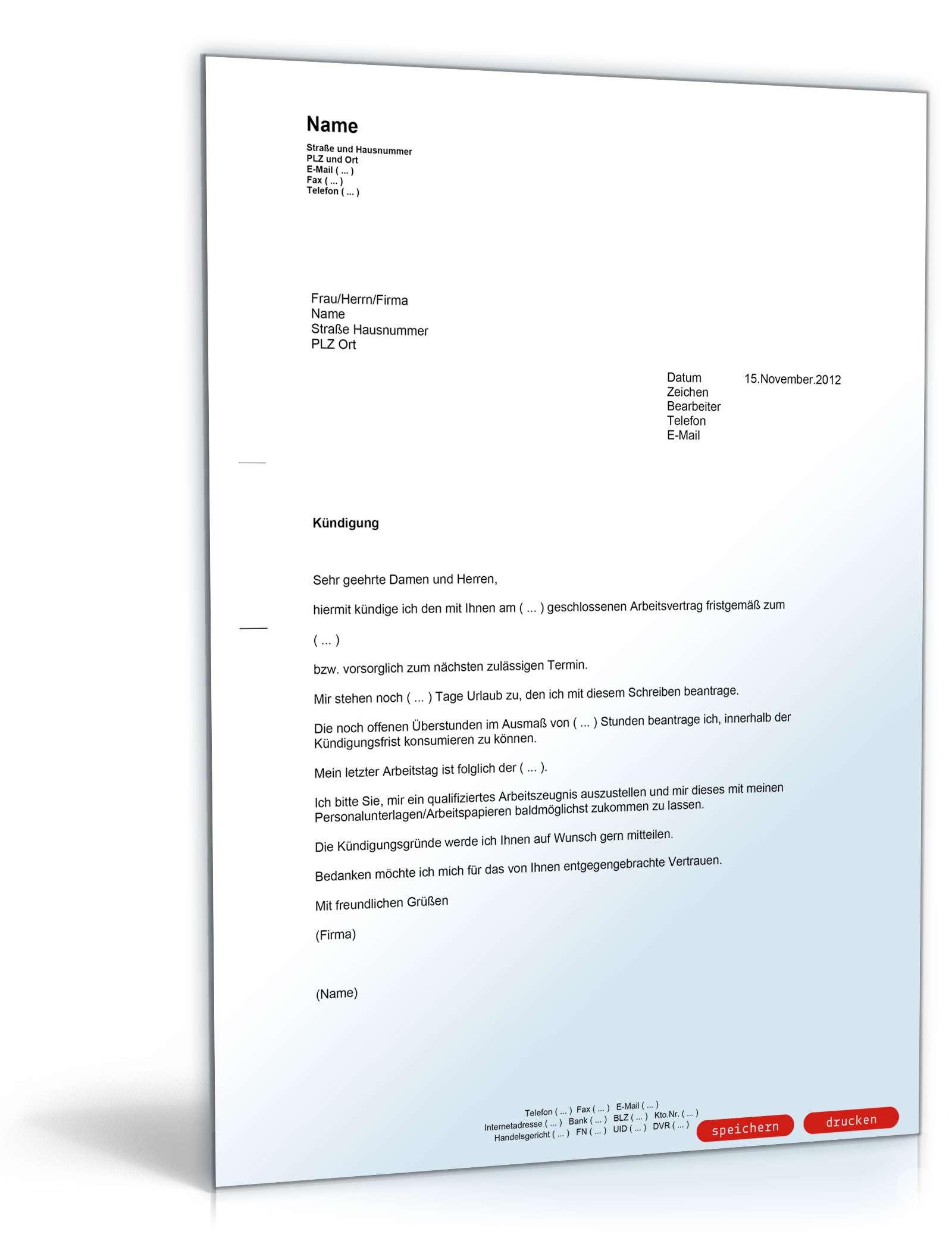 Ordentliche Kündigung An Einen Arbeitgeber Muster Vorlage Zum Download