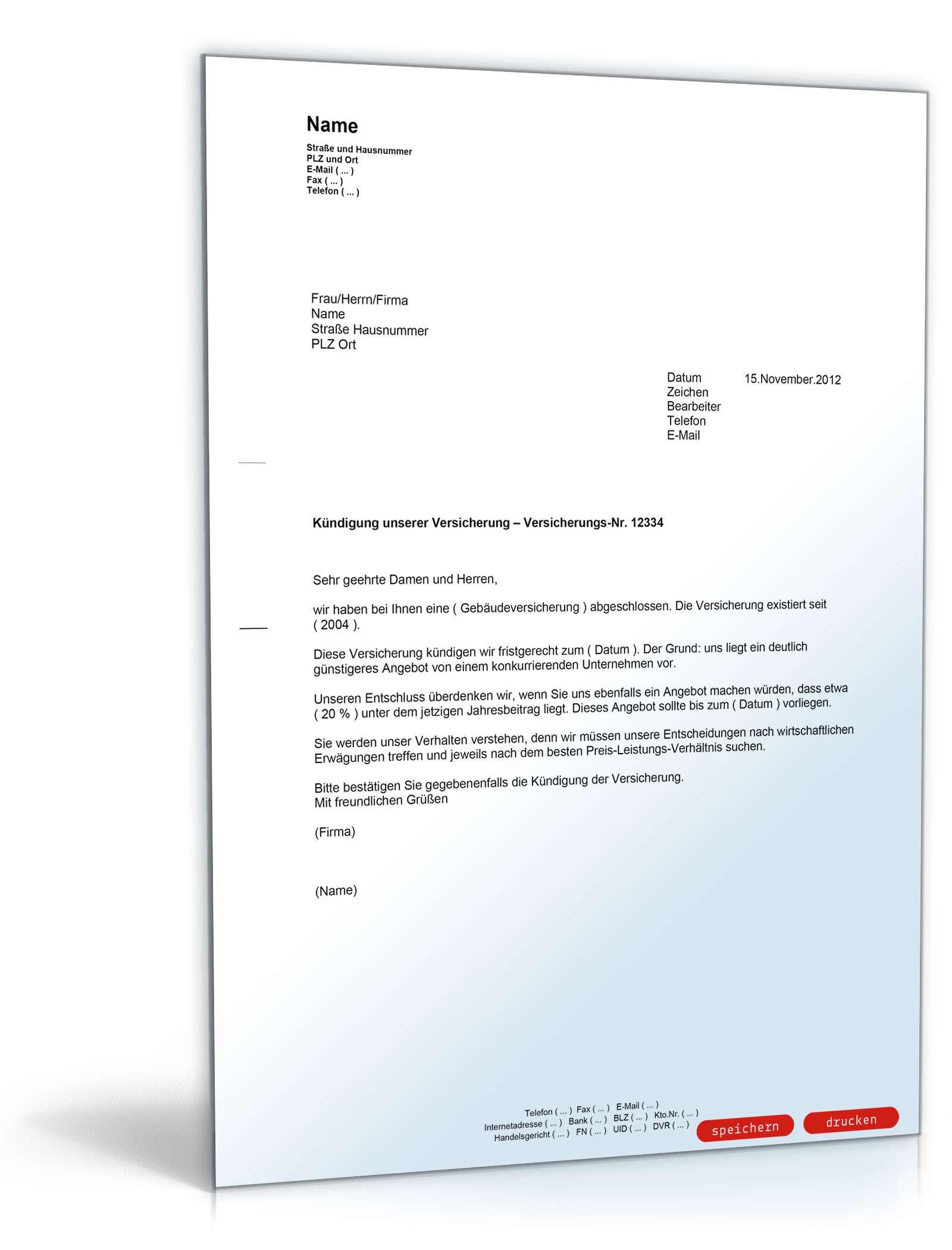 Kündigung einer Versicherung - Muster-Vorlage zum Download