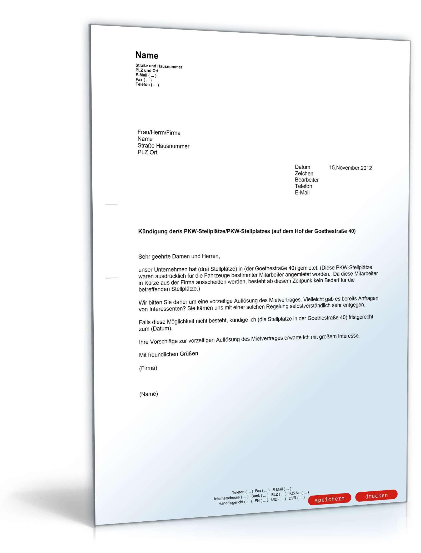 Musterbriefe Kündigung : Kündigung eines mietvertrags für parkplätze muster