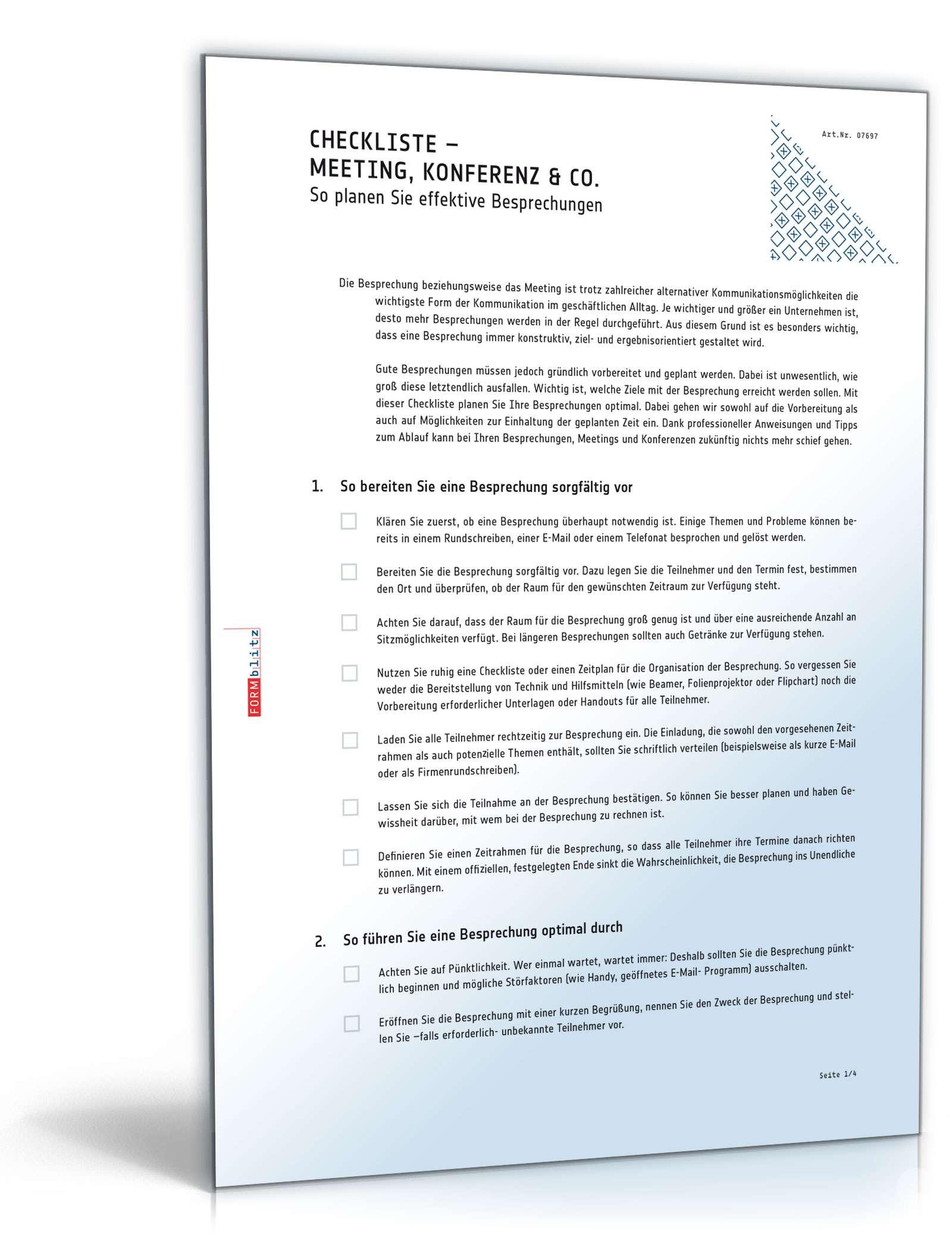 Meeting / Besprechung planen - Checkliste zum Download