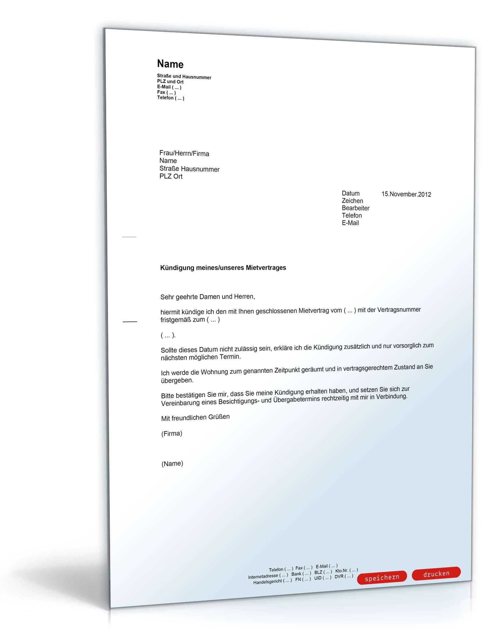 Fristgerechte Kündigung An Den Vermieter Muster Vorlage Zum Download