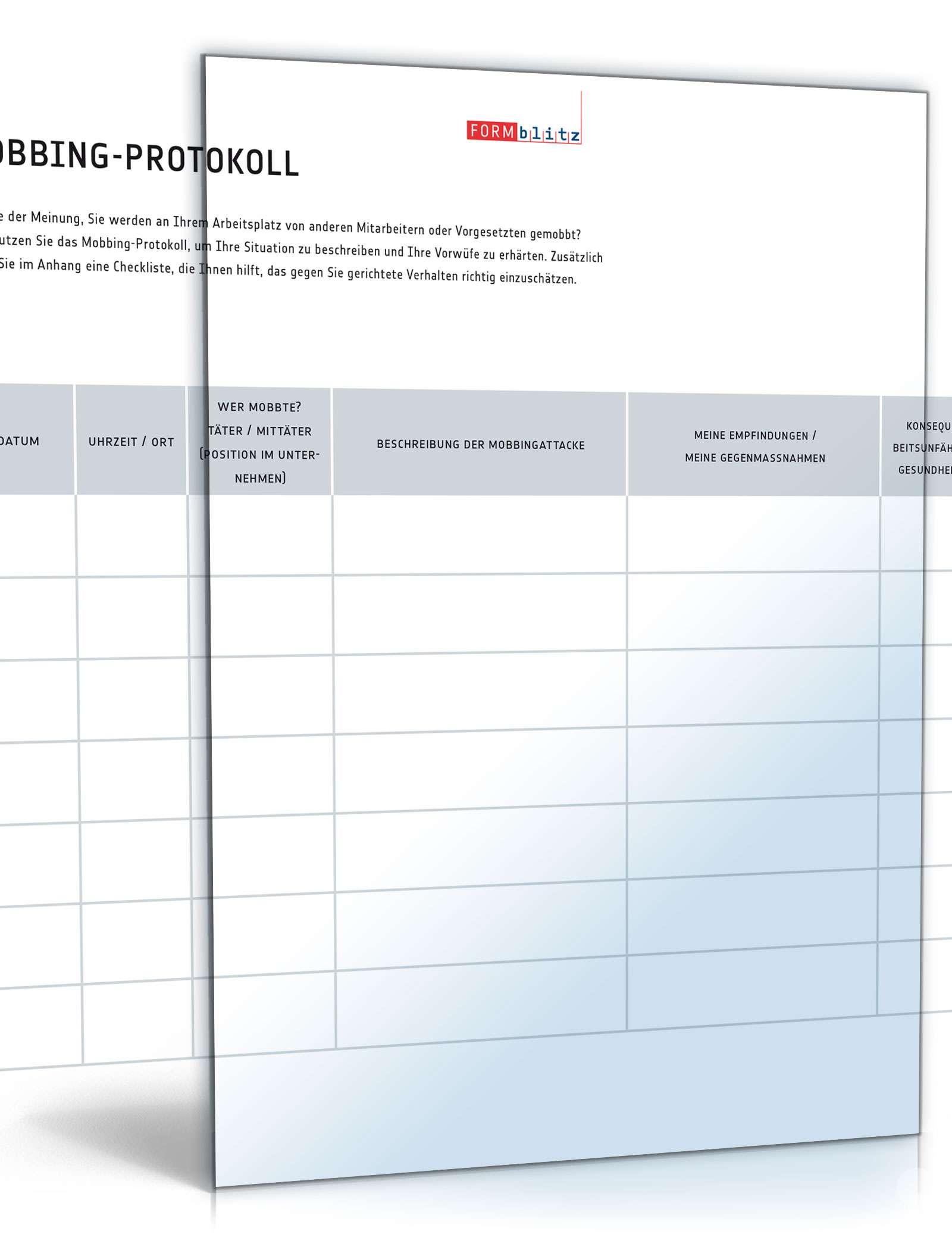 mobbing protokoll mit checkliste - Protokoll Muster