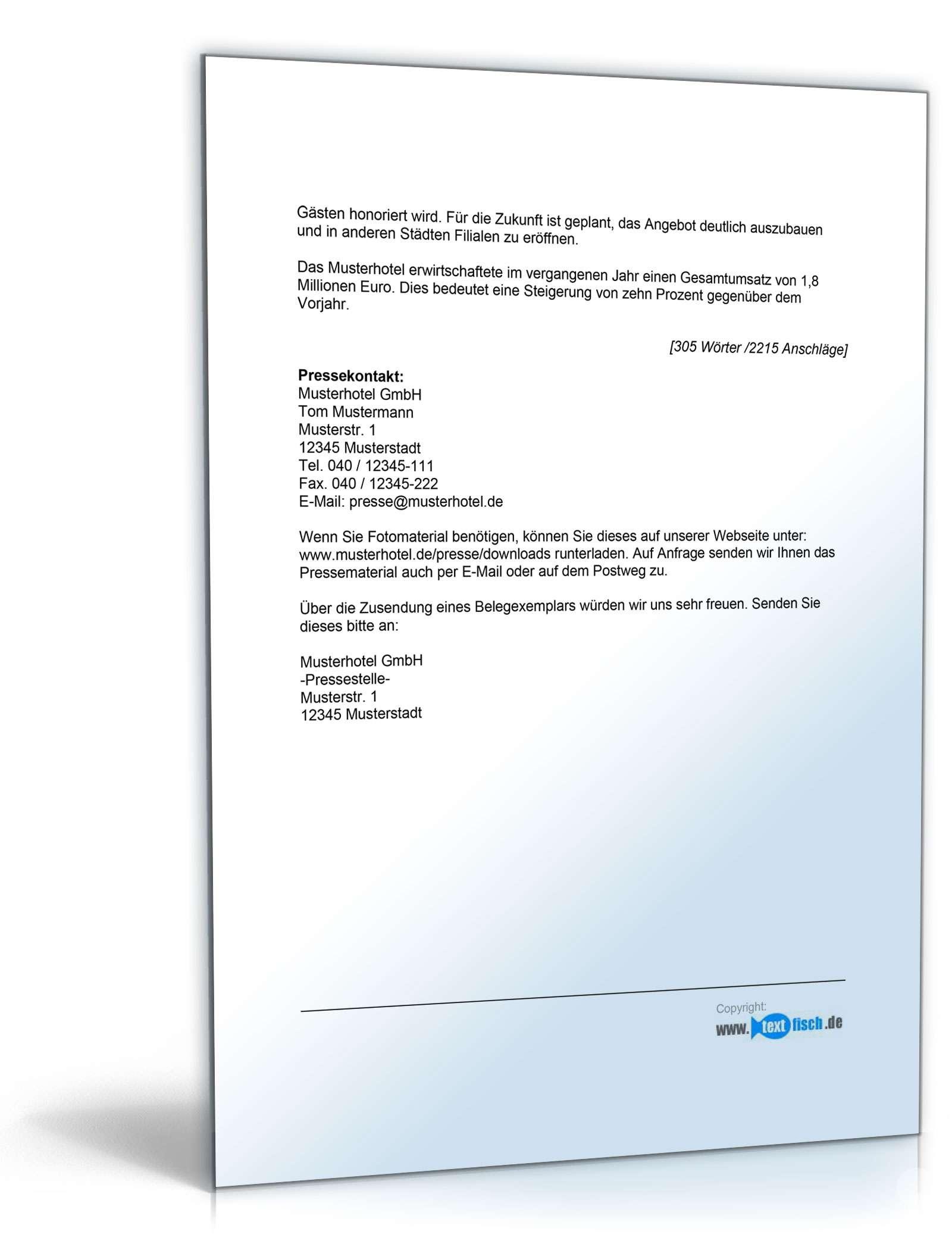 Pressemitteilung Firmenjubiläum (Hotel)- Muster zum Download
