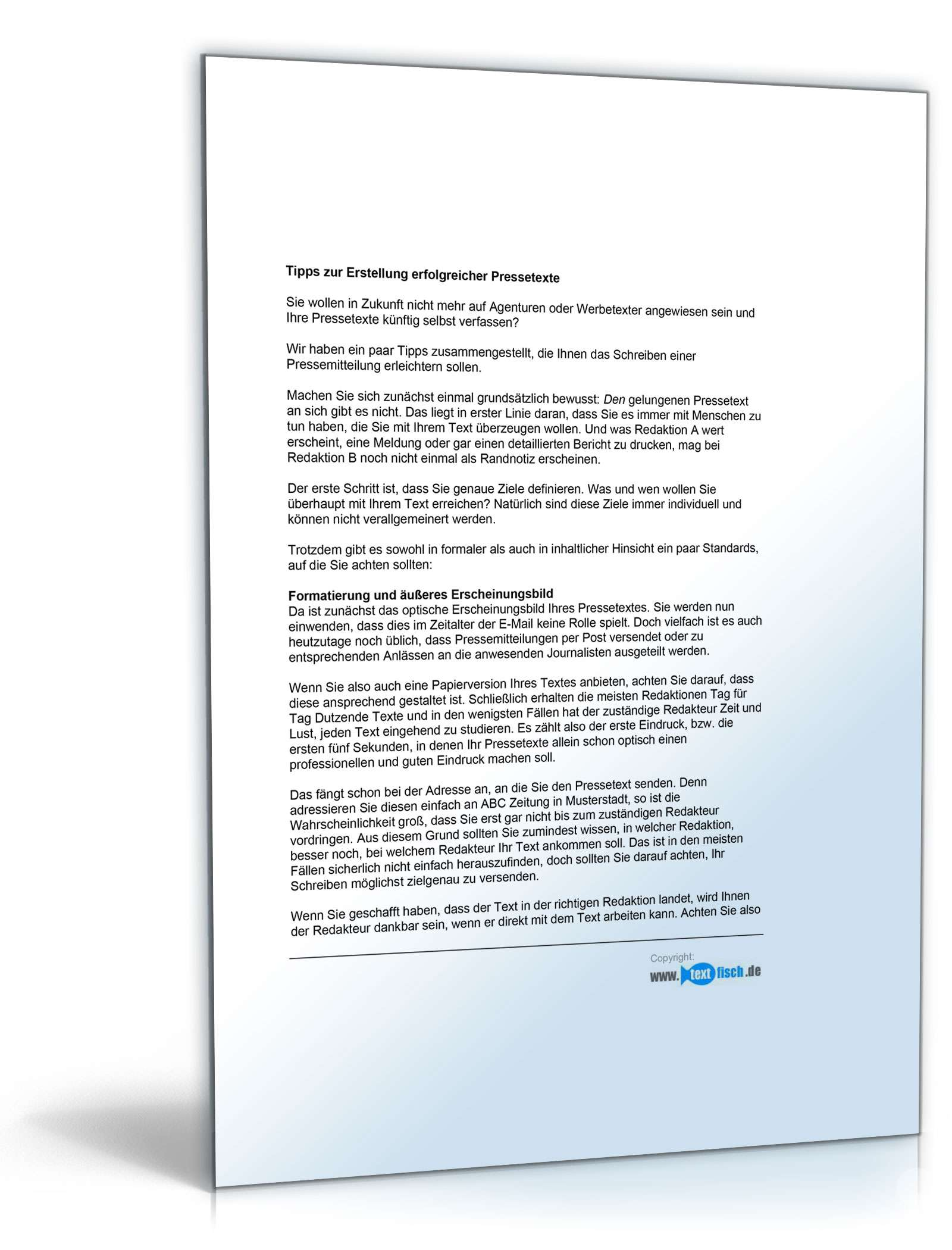 Musterbriefe Zusammenarbeit : Pressemitteilung über die ergebnisse einer kooperation