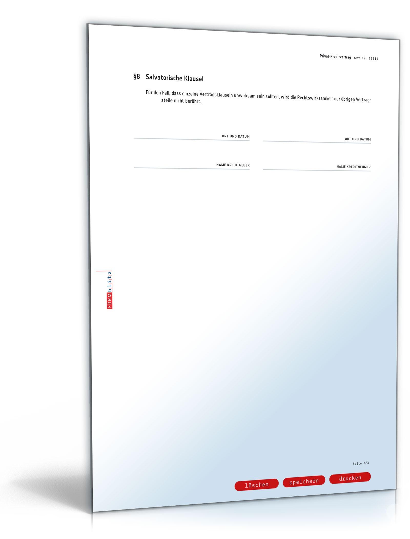 Privatkreditvertrag Muster Zum Download