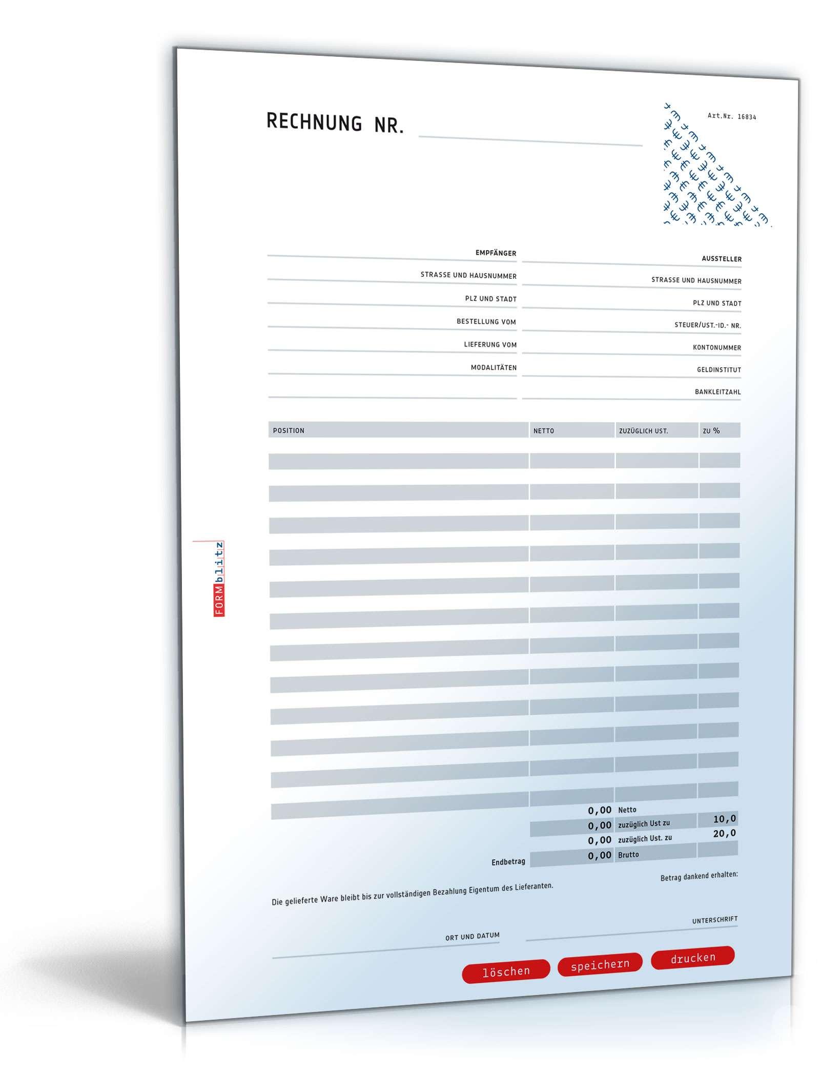Rechnung Netto Umsatzsteuer Variabel Muster Vorlage Zum Download