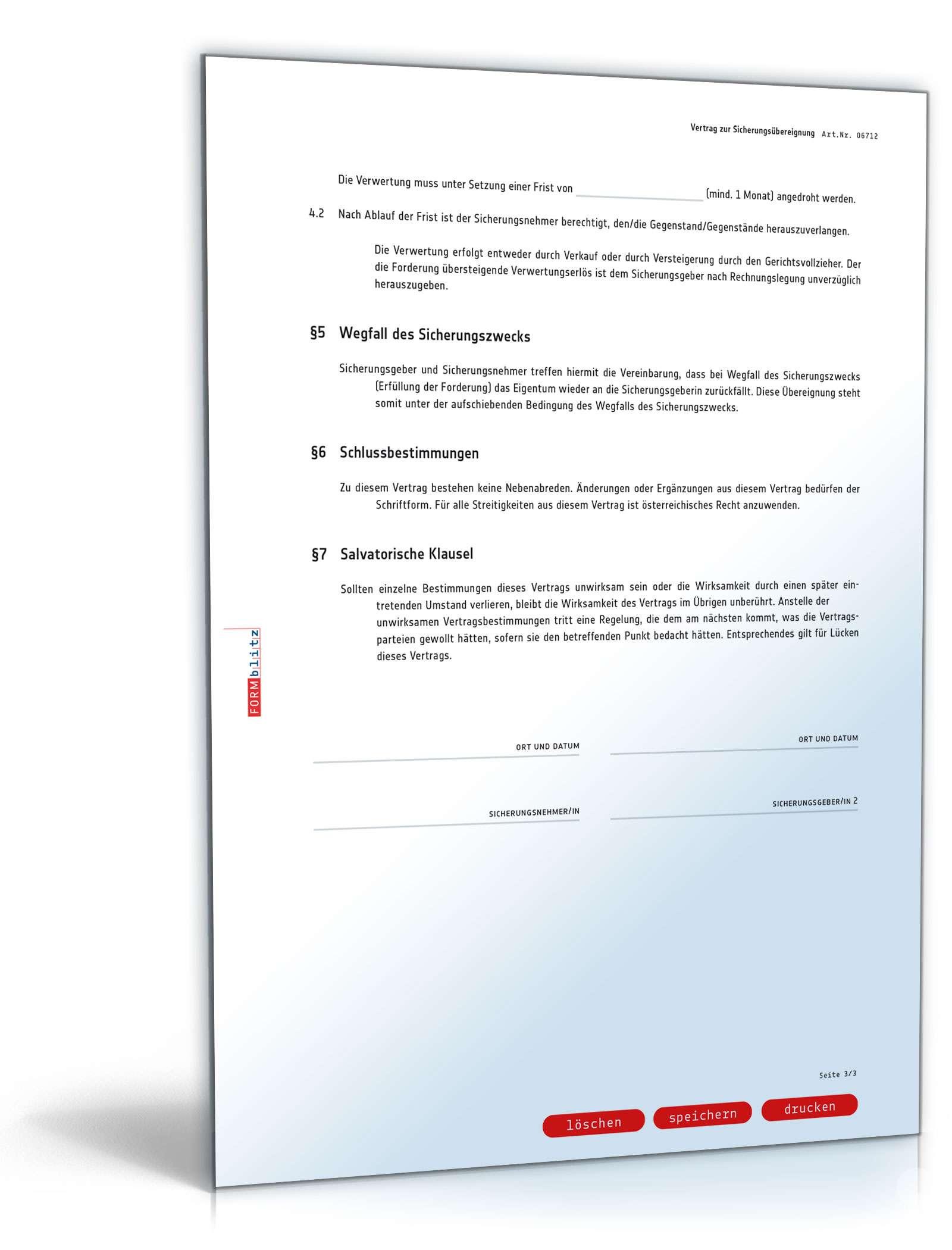Vertrag Zur Sicherungsubereignung Muster Vorlage Zum Download