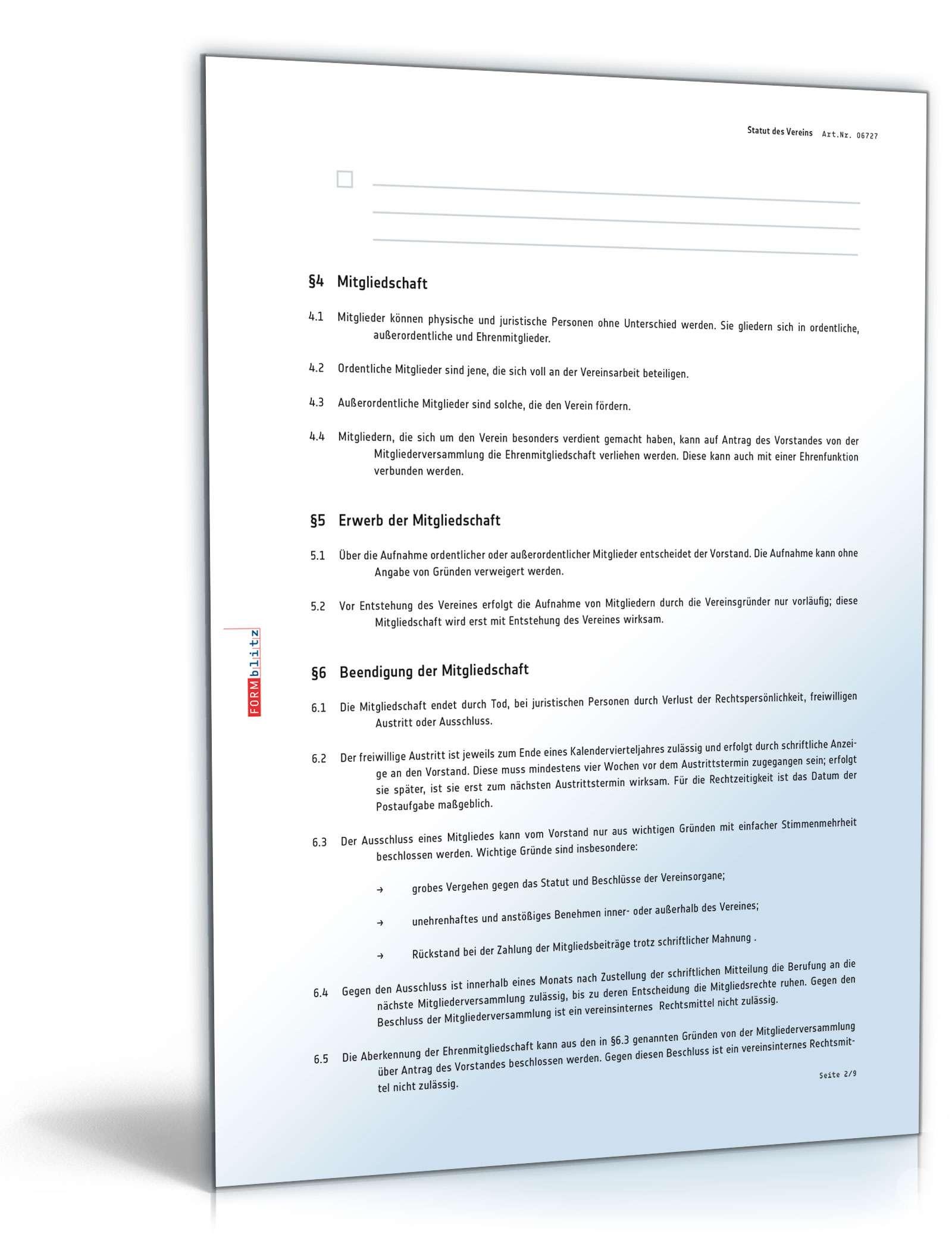 Statut des Vereins - Muster-Vorlage zum Download