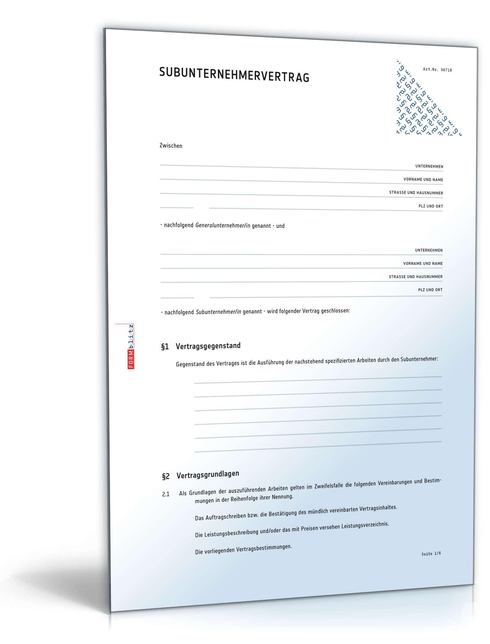 subunternehmervertrag muster vorlage zum download