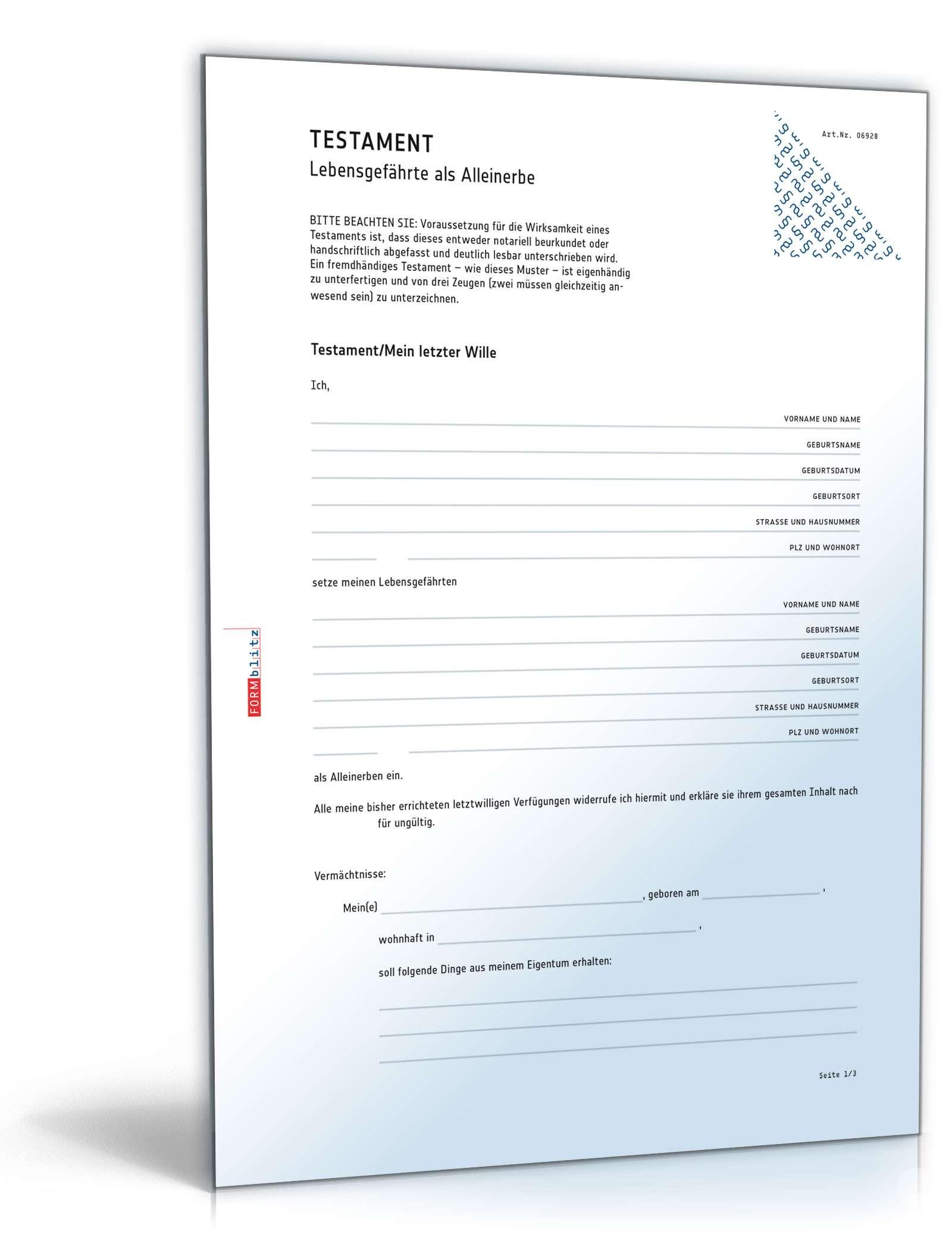 Musterbriefe Notar : Testament lebensgefährte als alleinerbe muster vorlage