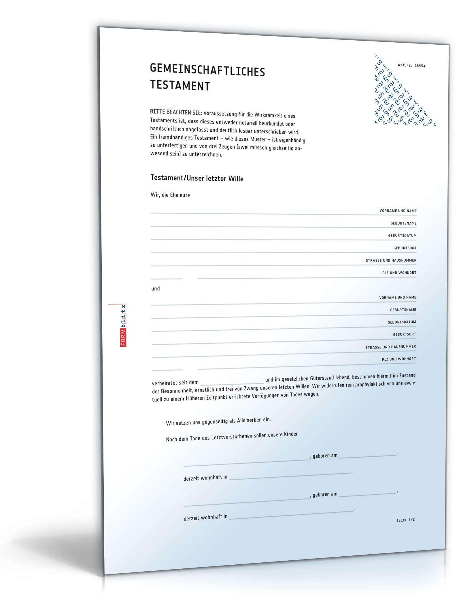 Testament Muster Vorlage Vorlagen Checklisten