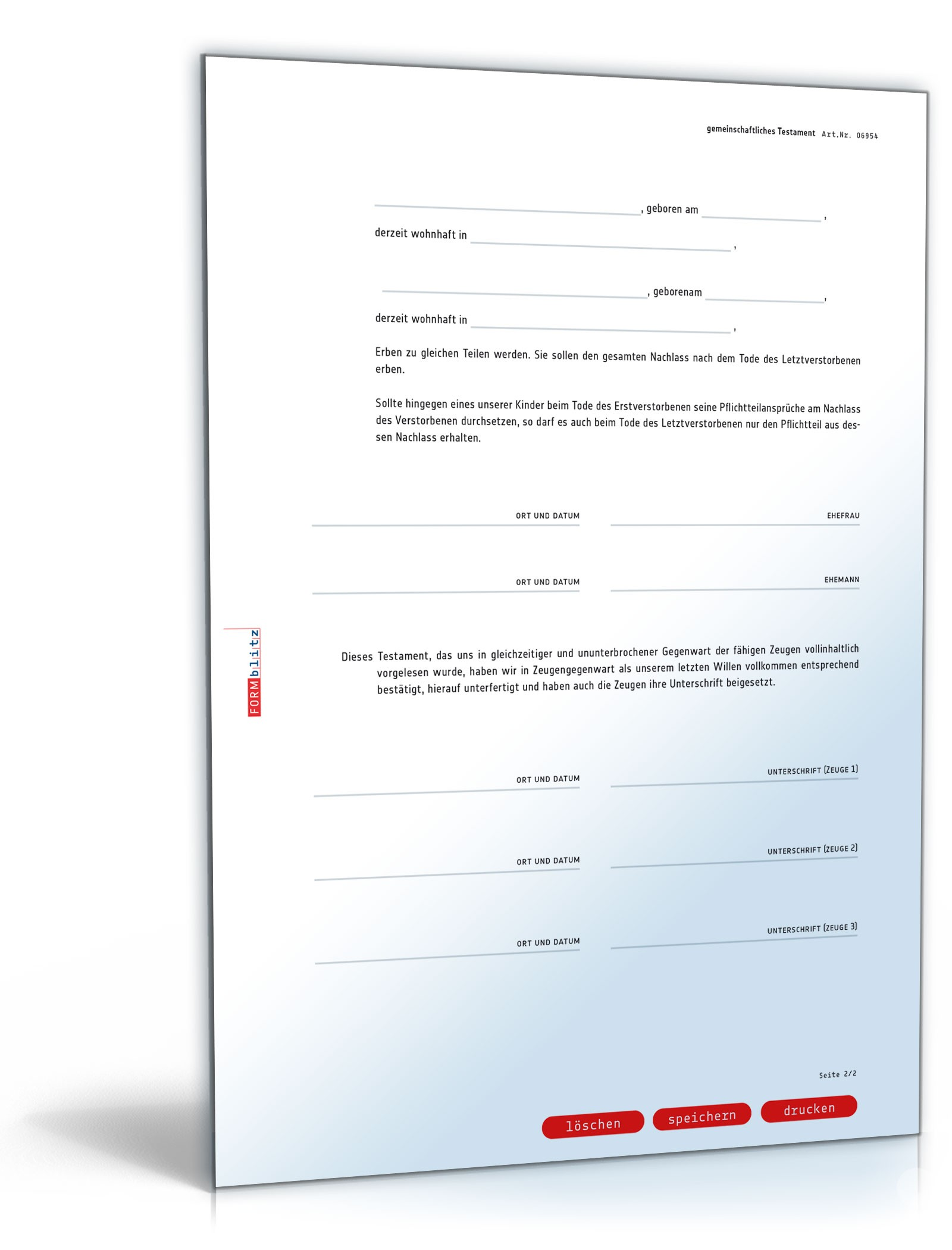 Gemeinschaftliches Testament Muster Vorlage Zum Download