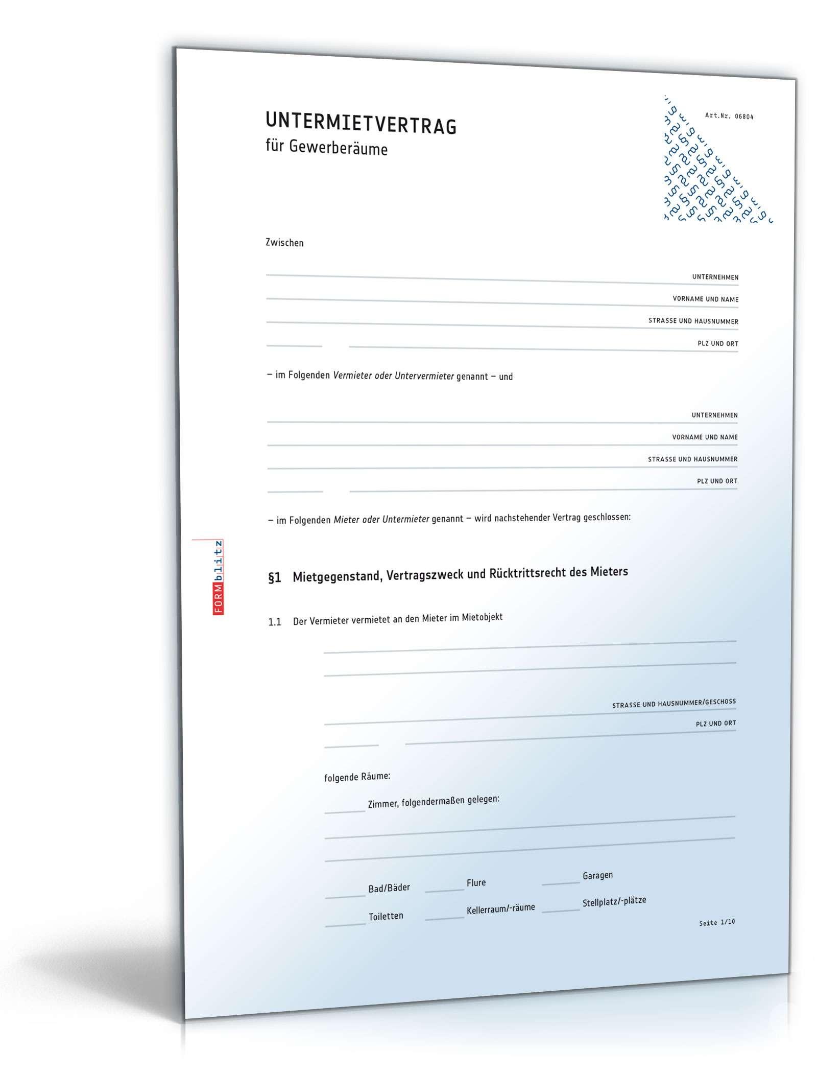 untermietvertrag fr gewerberume muster vorlage zum download - Muster Untermietvertrag