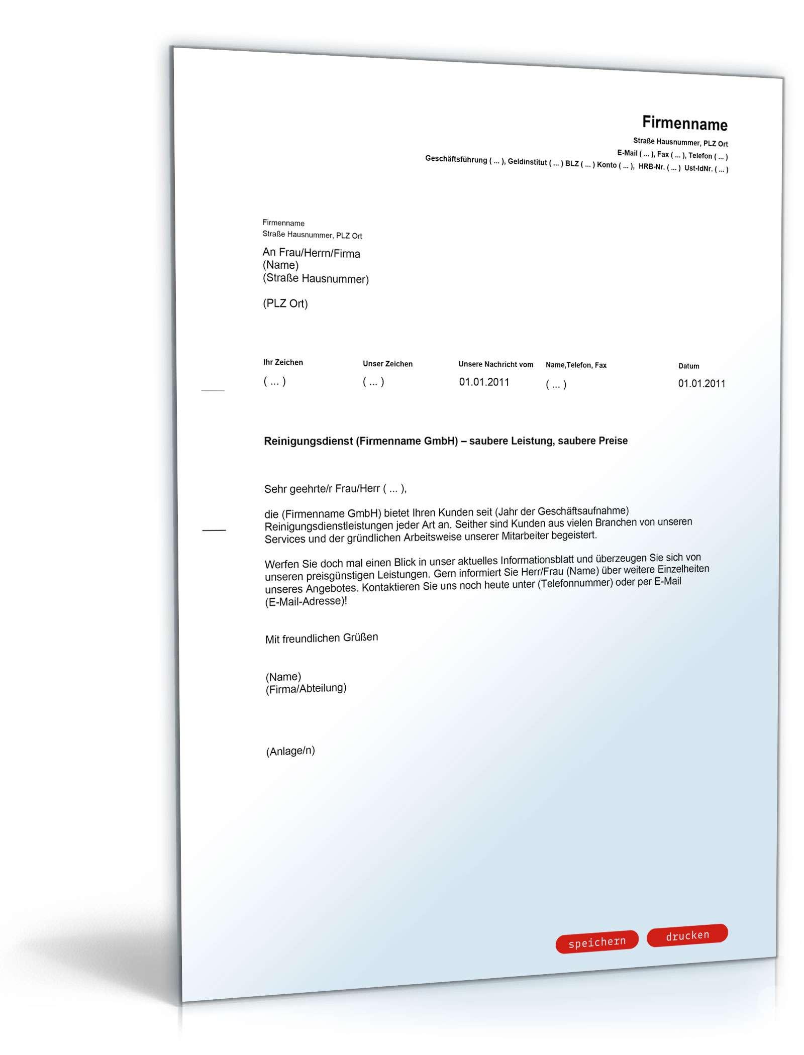 Werbebrief Fur Einen Reinigungsdienst Muster Vorlage Zum Download