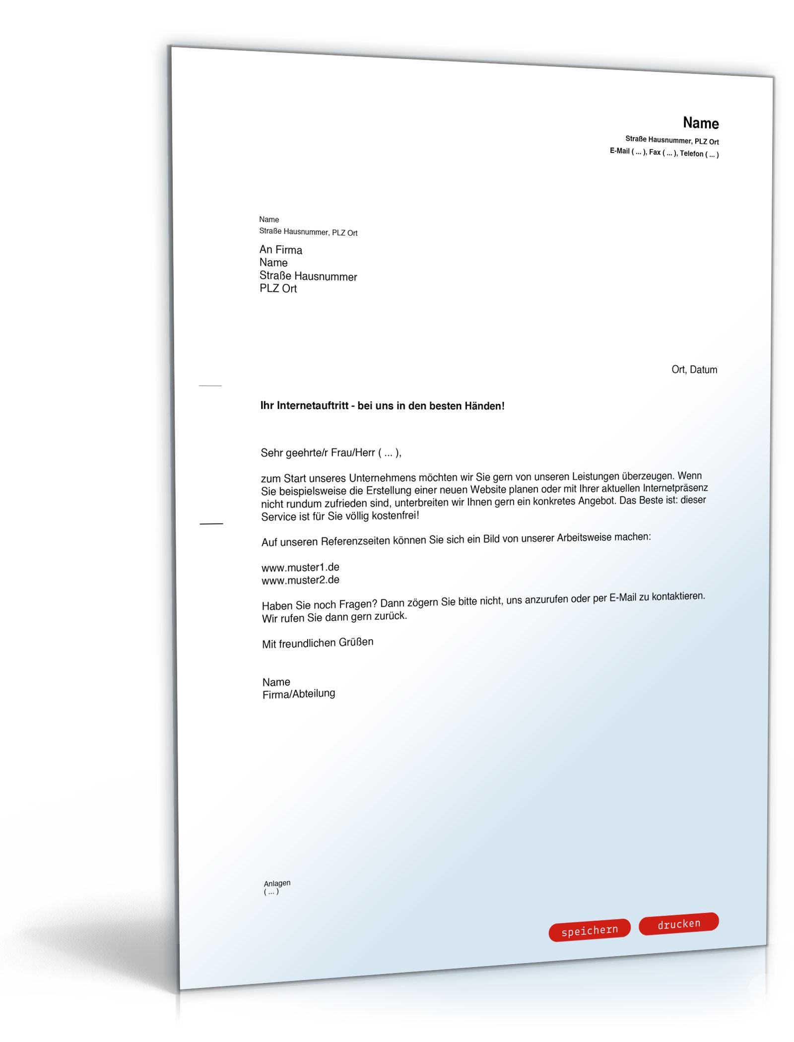 Brief Für Namensänderung : Werbebrief für website gestaltung muster vorlage zum