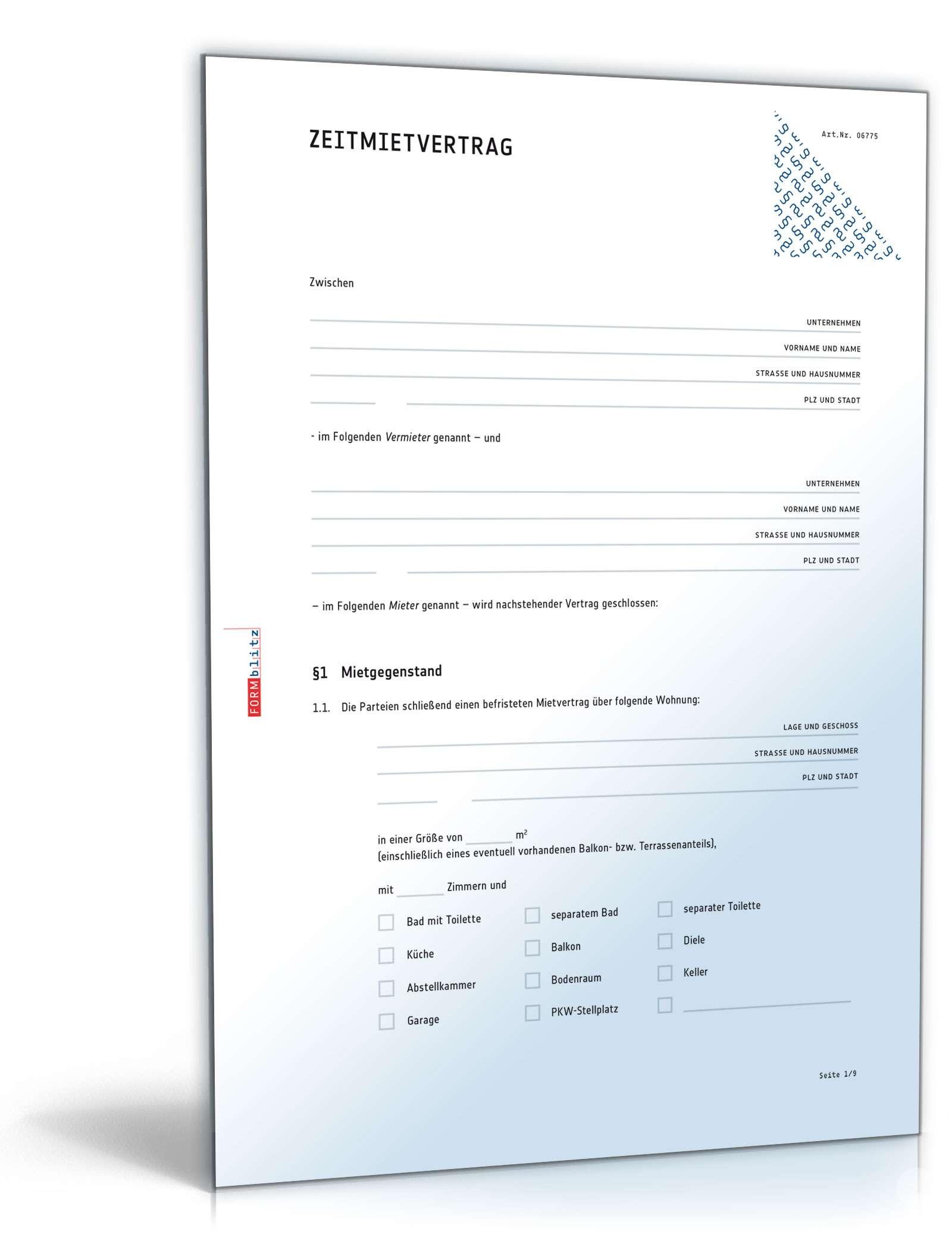 Zeitmietvertrag Muster Vorlage Zum Download